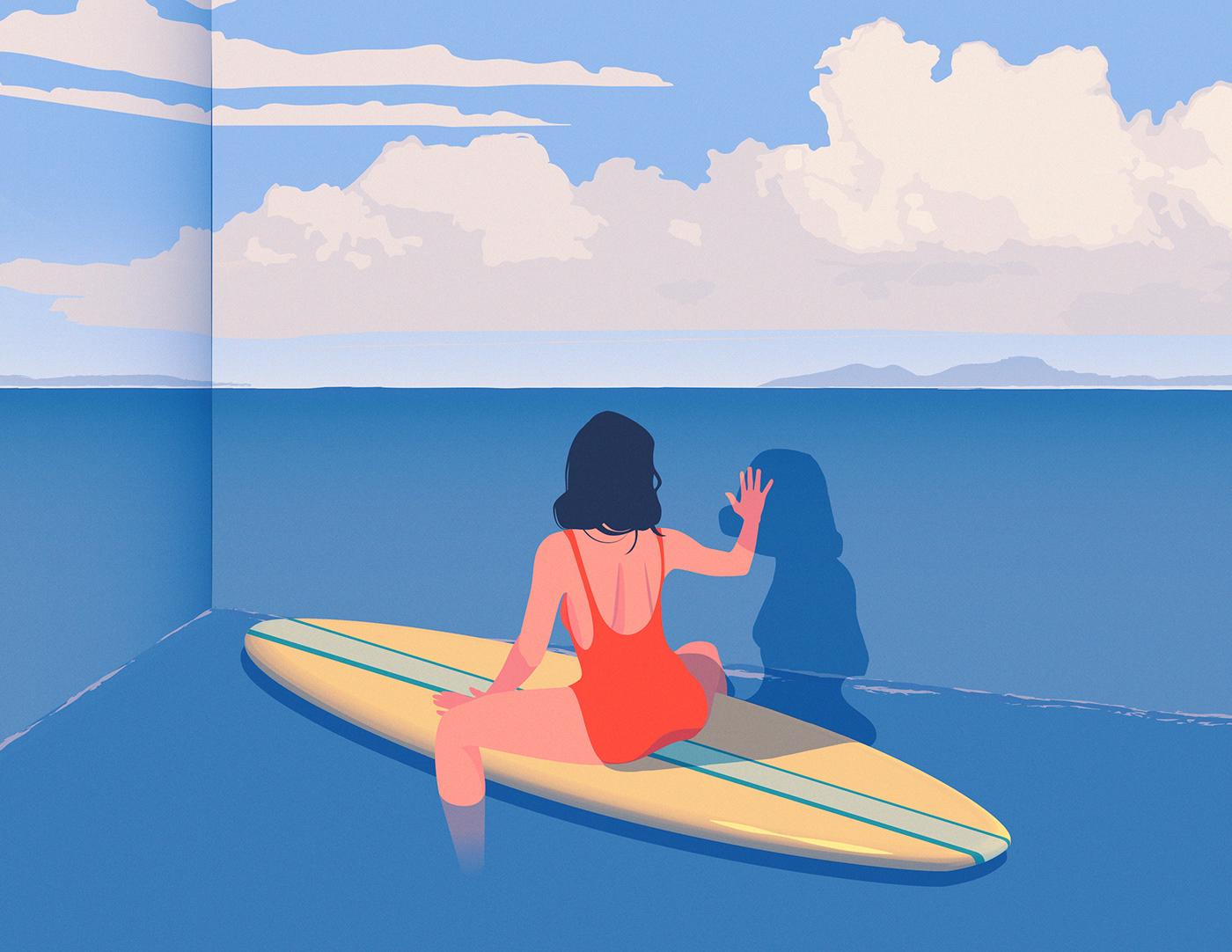 optical illusion fantasy beach Ocean Surf surreal ILLUSTRATION  Editorial Illustration