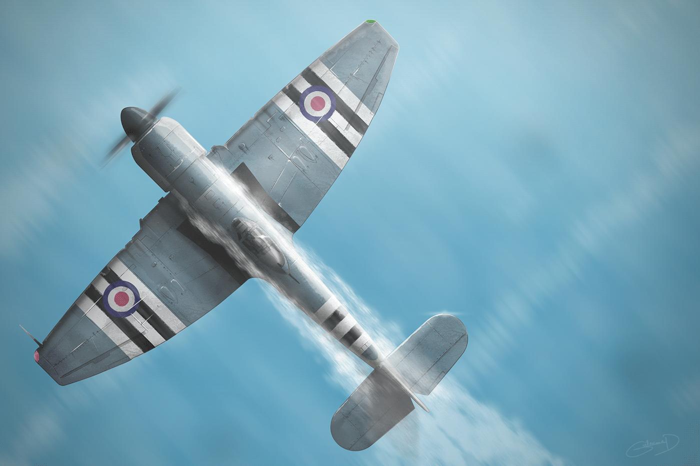 Hawker Sea Fury au dessus de l'eau
