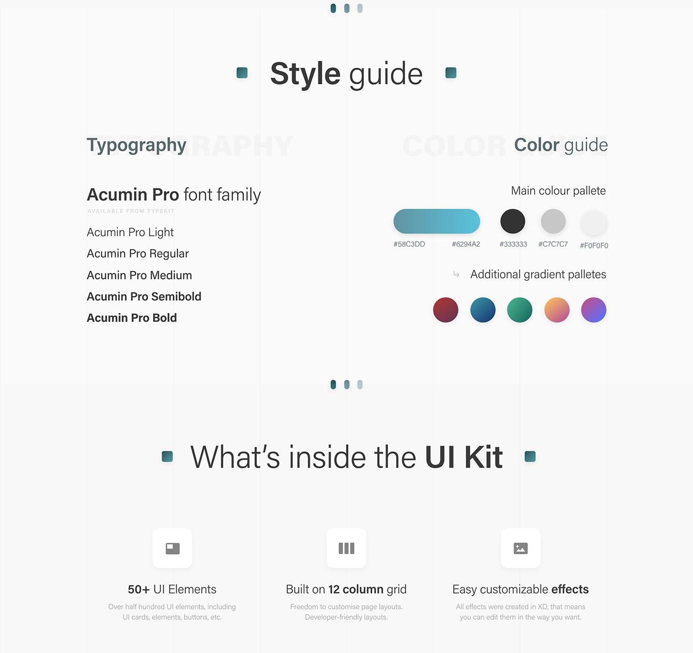 ui kit blogging  social media free template ui design UX design Adobe XD