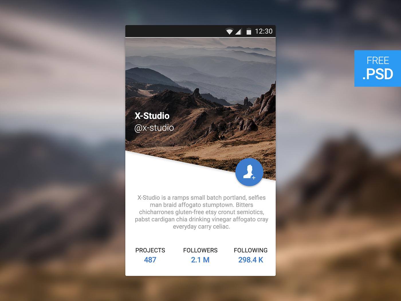 app free psd UI download freebies widget user profile