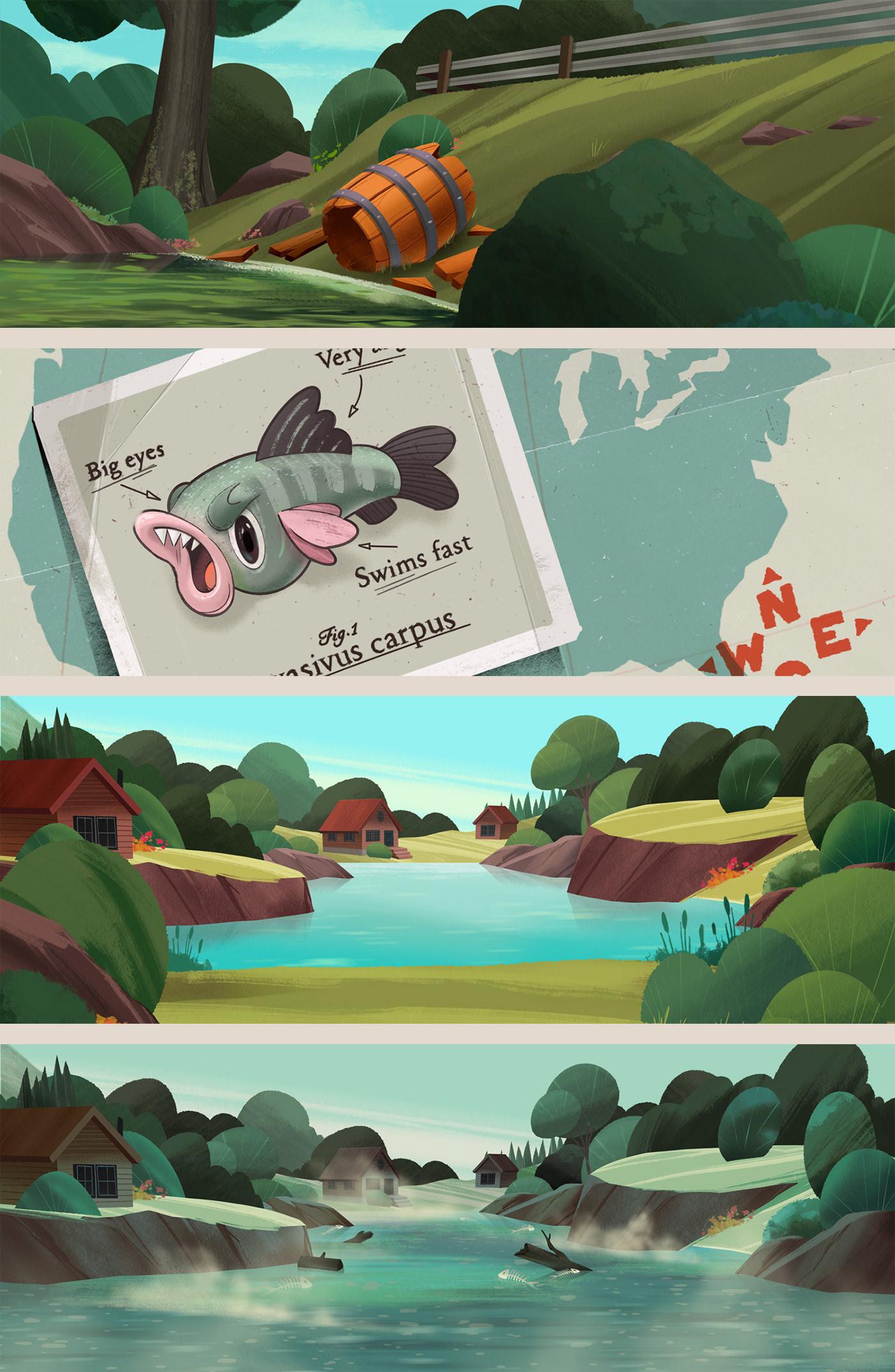 animation  carps cartoon dog dog food fish motion graphics  old-school vintage wilder harrier