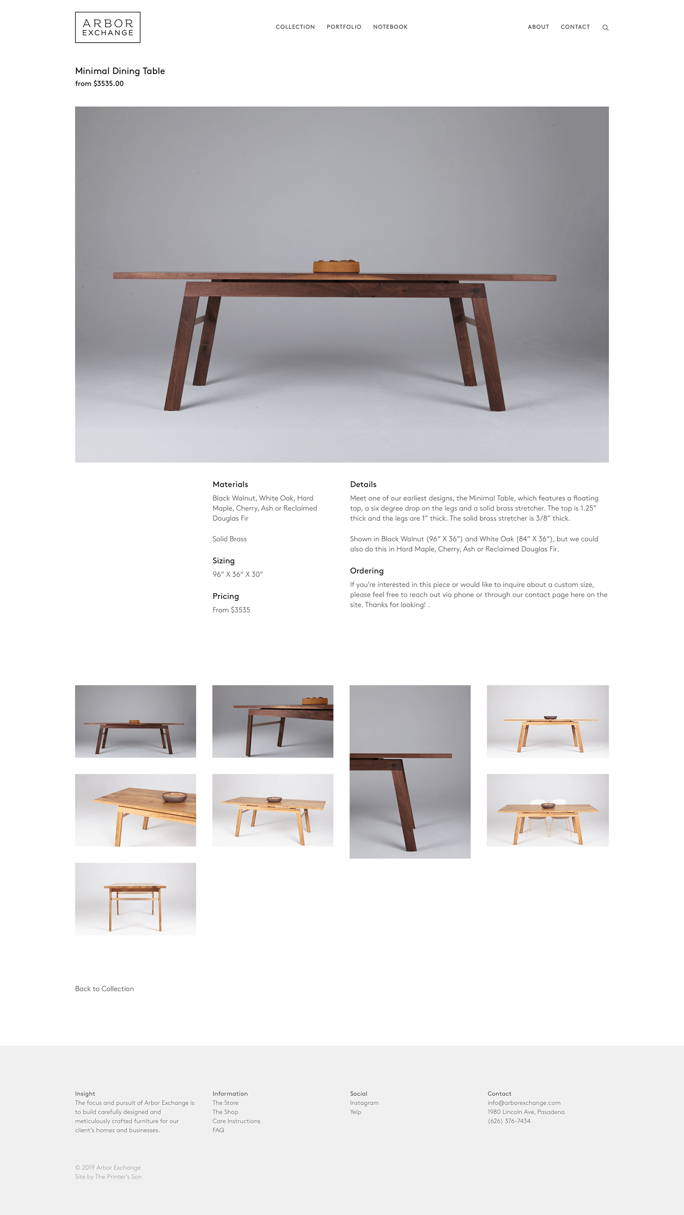Arbor Exchange craftsmanship furniture design  grid based squarespace The Printer's Son Web Design