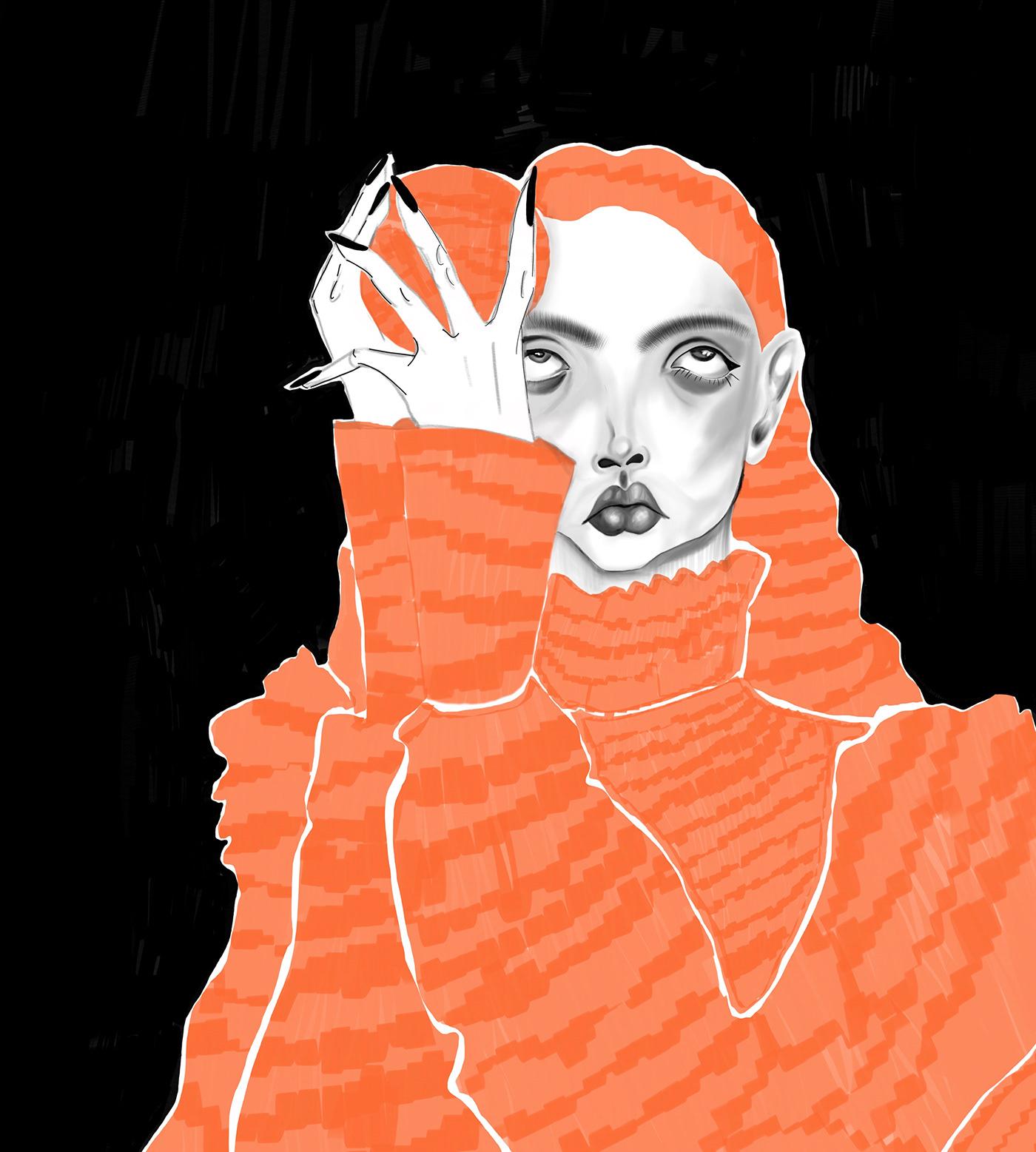 digitalart Drawing  ILLUSTRATION  adobedesign artist designer fashiondesign moodboard painting   portrait