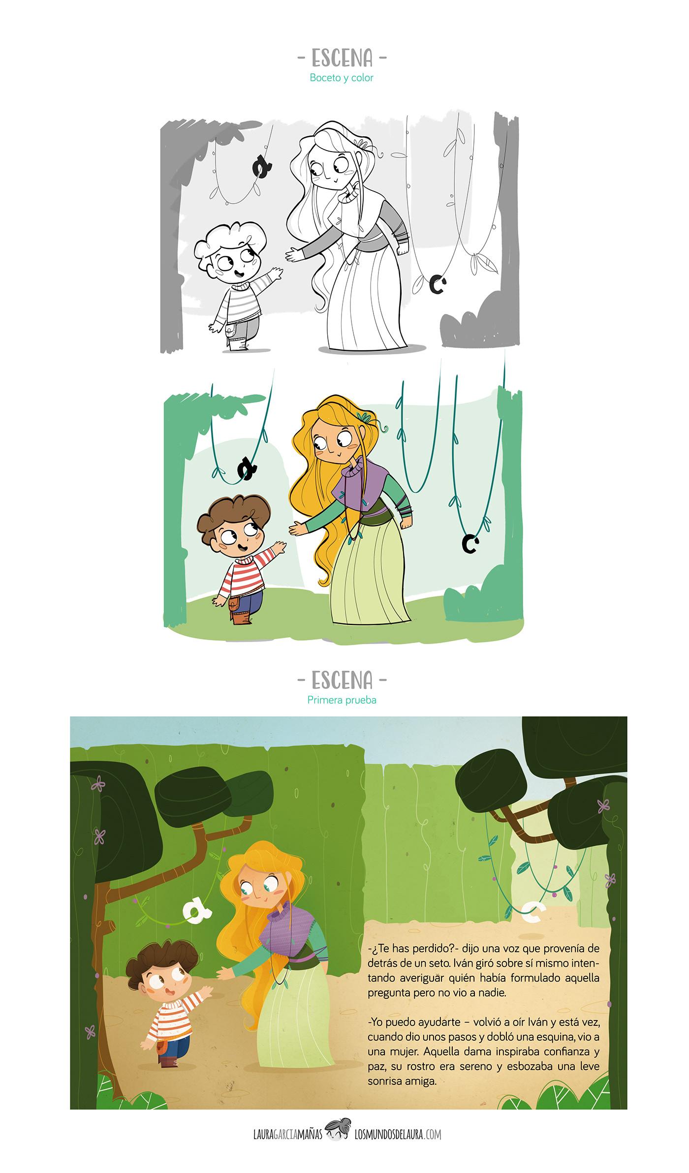 laberinto Elfa niño letras infantil fantasia educación lectura castillo hada