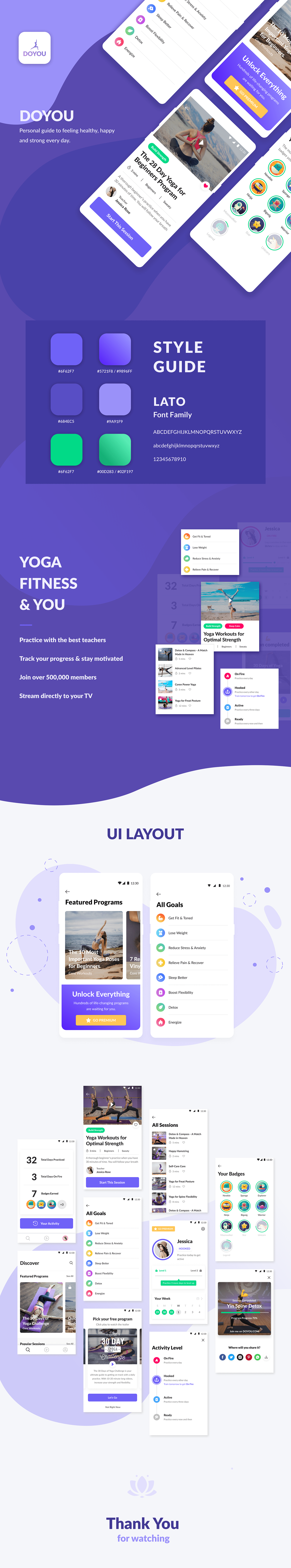UI,ux,design,mobile,Style,Guide,fonts,Layout,Yoga,fitness