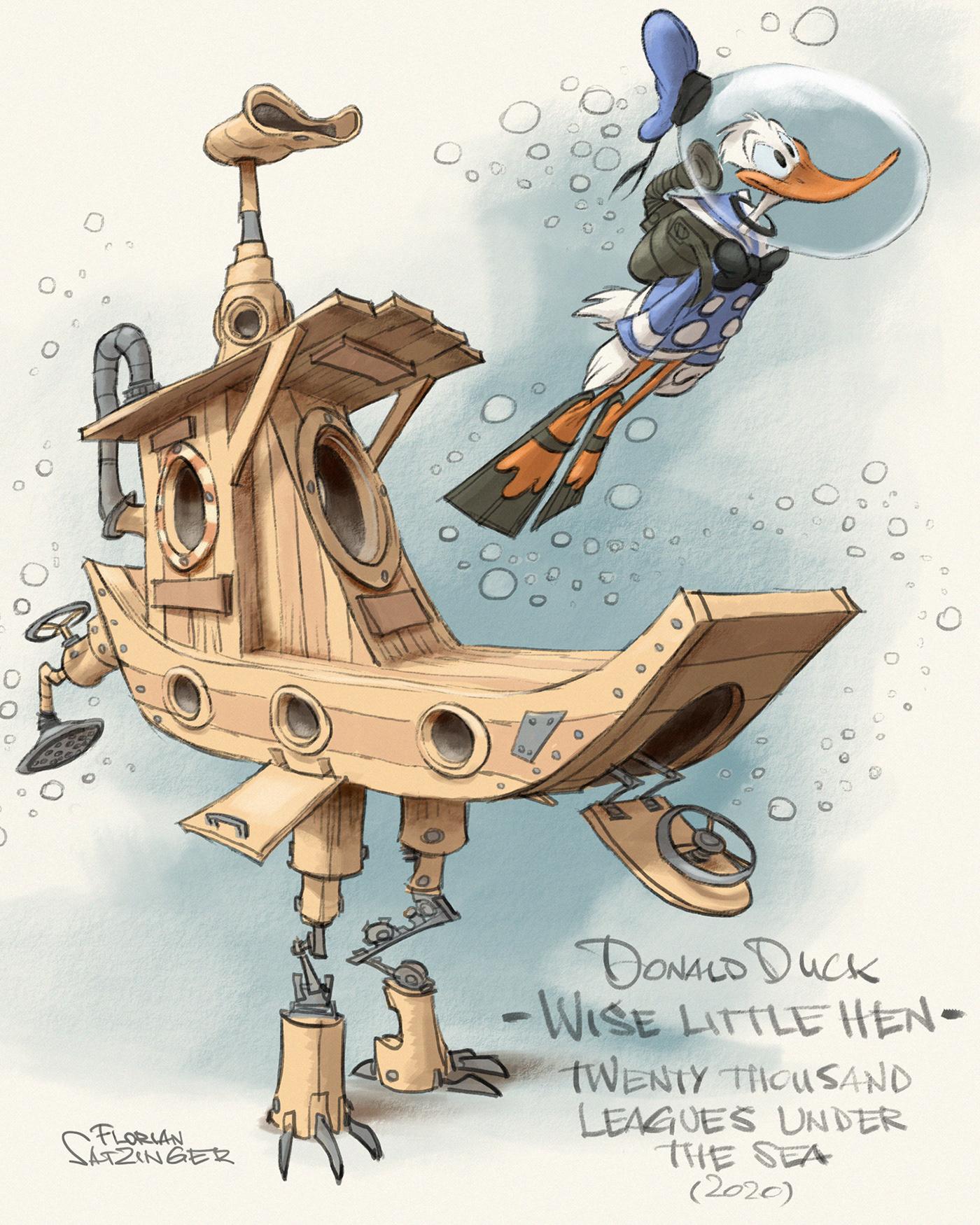 Digital Drawing donald duck drawing process jules verne parody art Rough Sketch