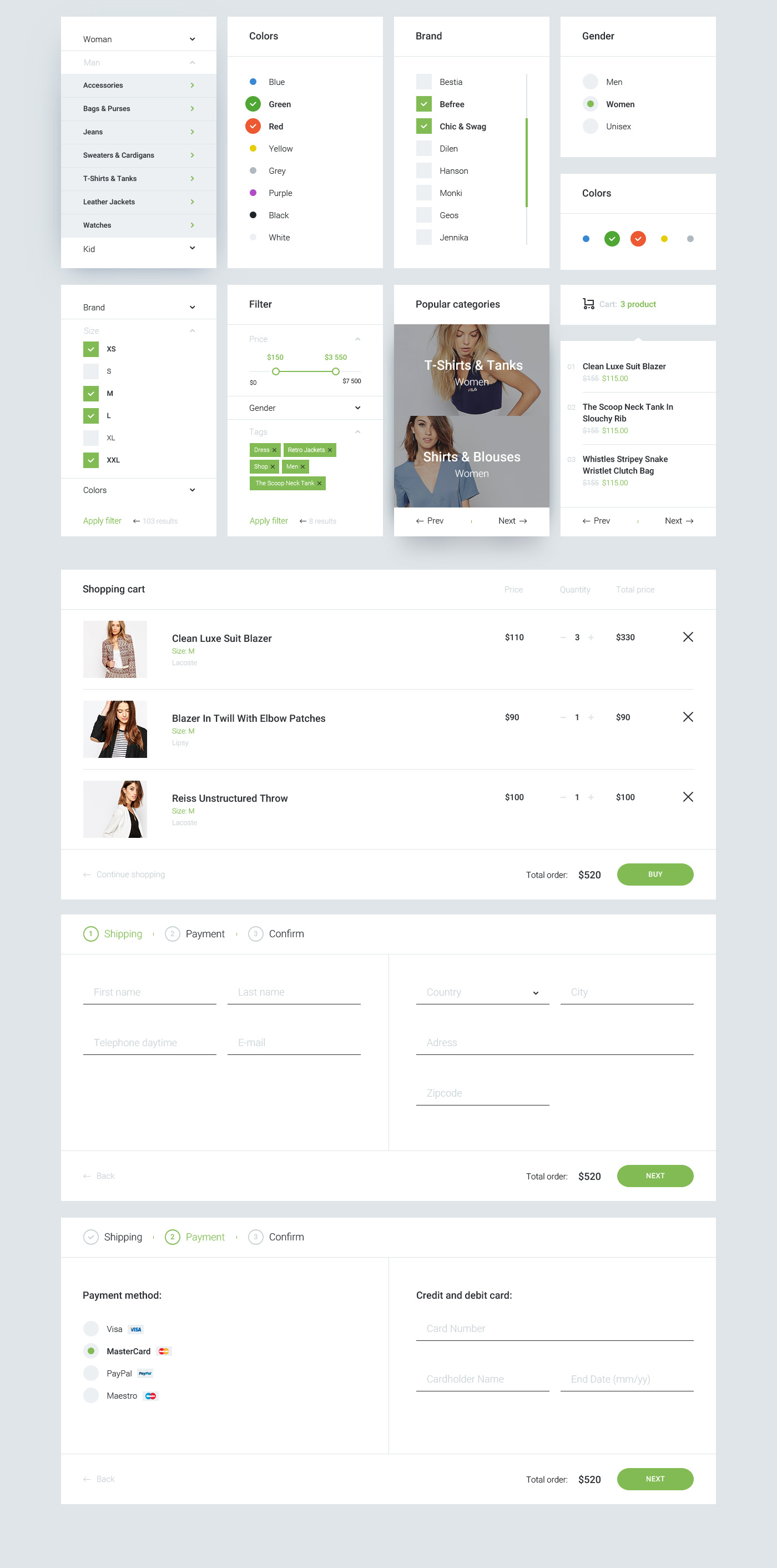 ui kit UI ux Ecommerce Blog Header footer sample free slider Website Web e-commerce Layout Webdesign