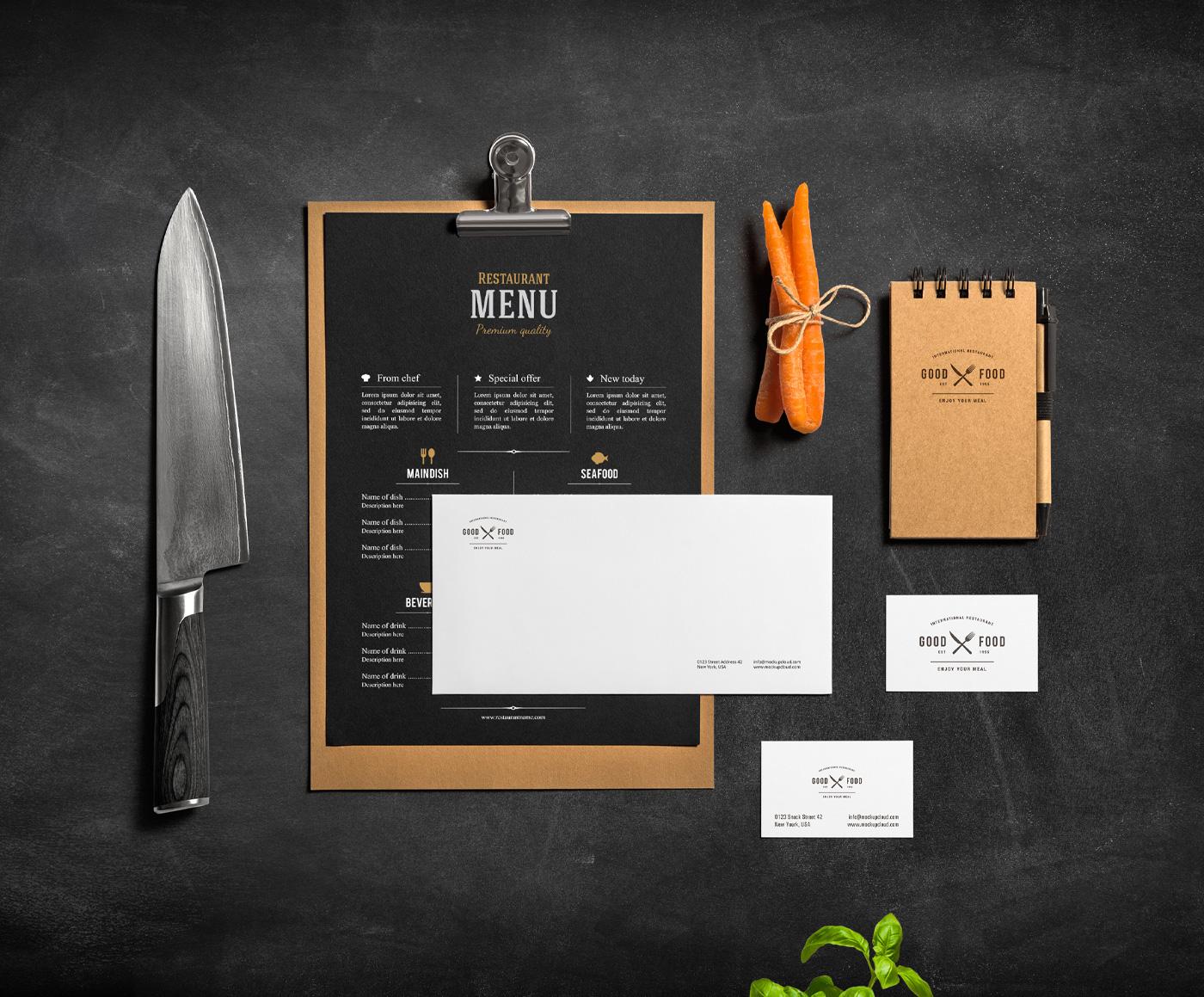 Restaurant bar stationery mock up on behance for Food bar mockup