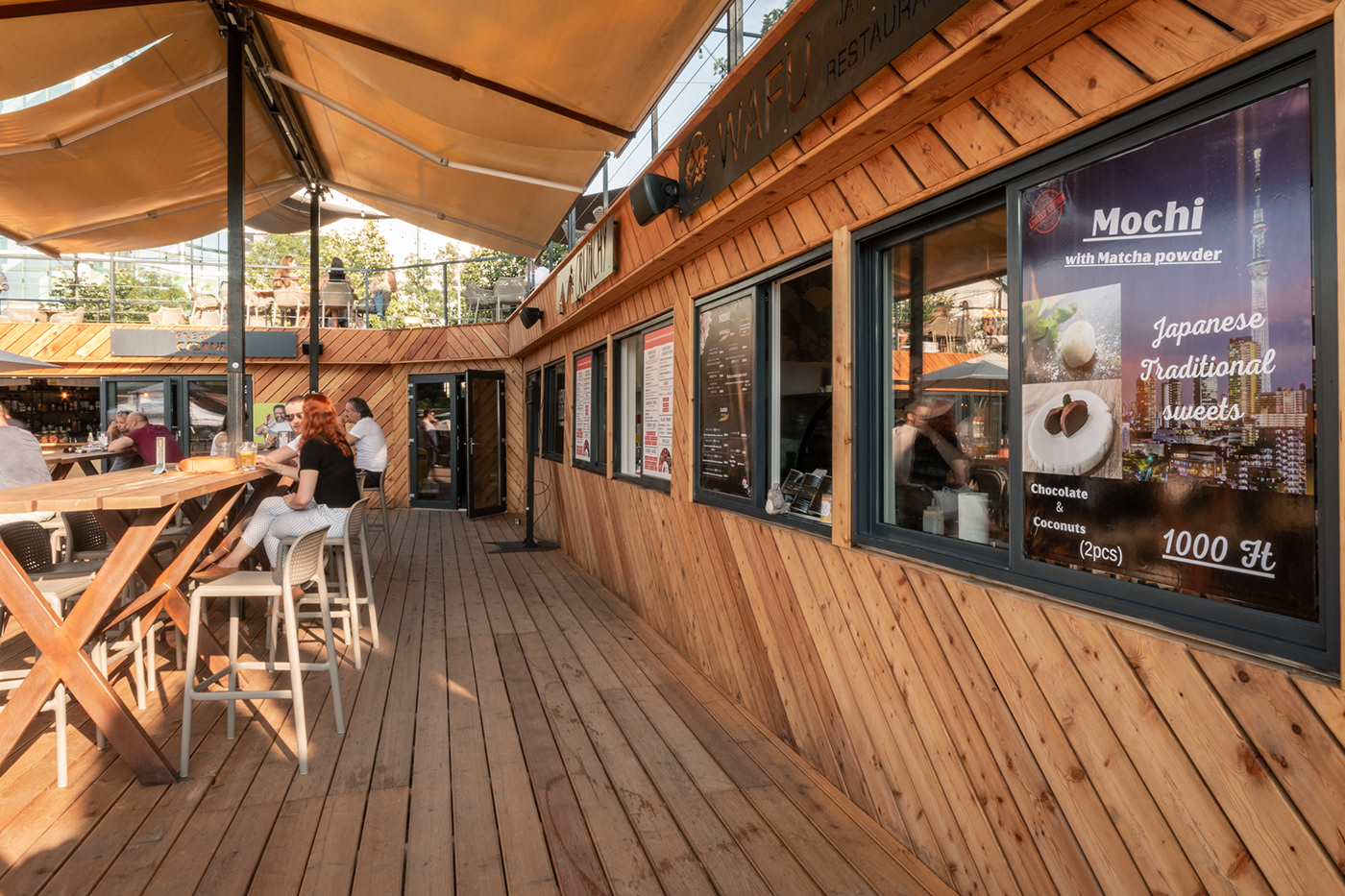 bar budapest container dark gastronomy industrial installation Marketplace pop-up wood