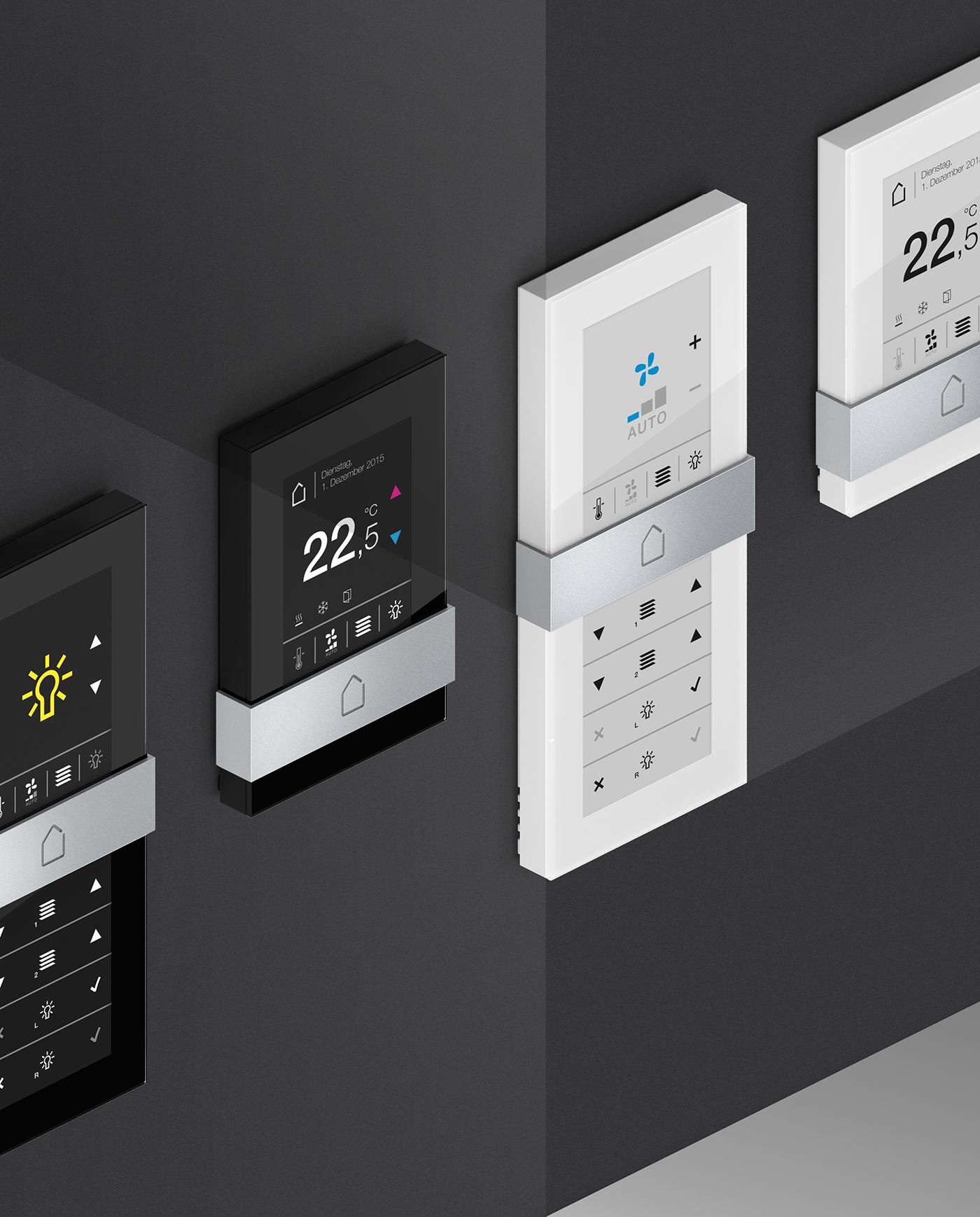 Room Operating Unit temperature Air condition heating remote glass aluminum room control setting