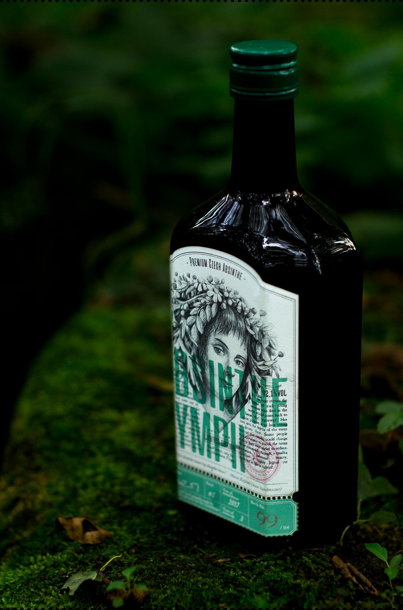 graphicdesign design ILLUSTRATION  Label Labeldesign absinth amoth amothdesign forest amothstudio