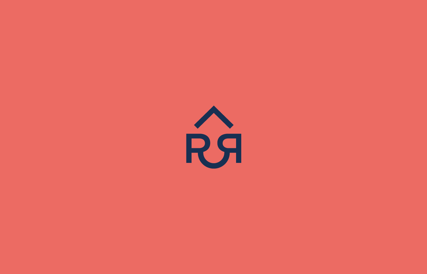 Hospitality house roof blue red service Double R Logo Design typography