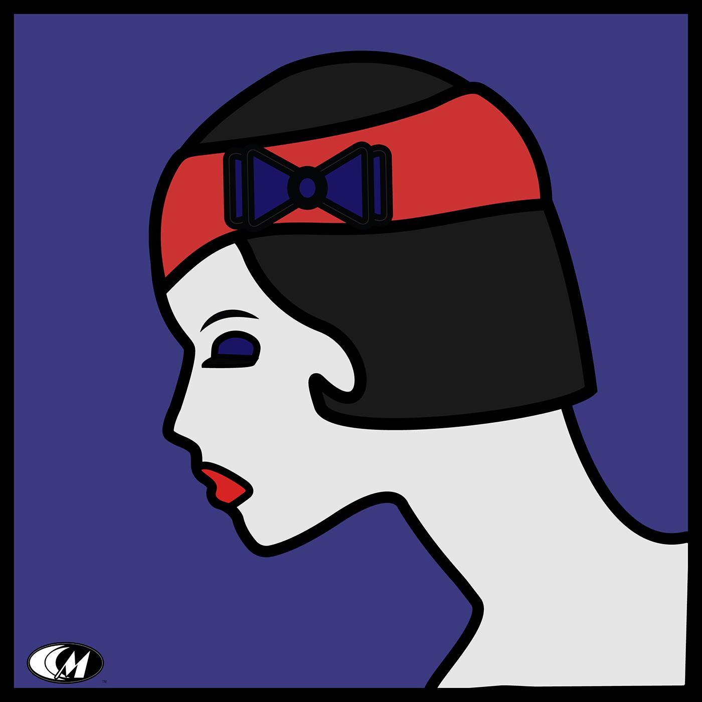 ILLUSTRATION  graphic design  Fashion  Freelance vector art woman blue bow