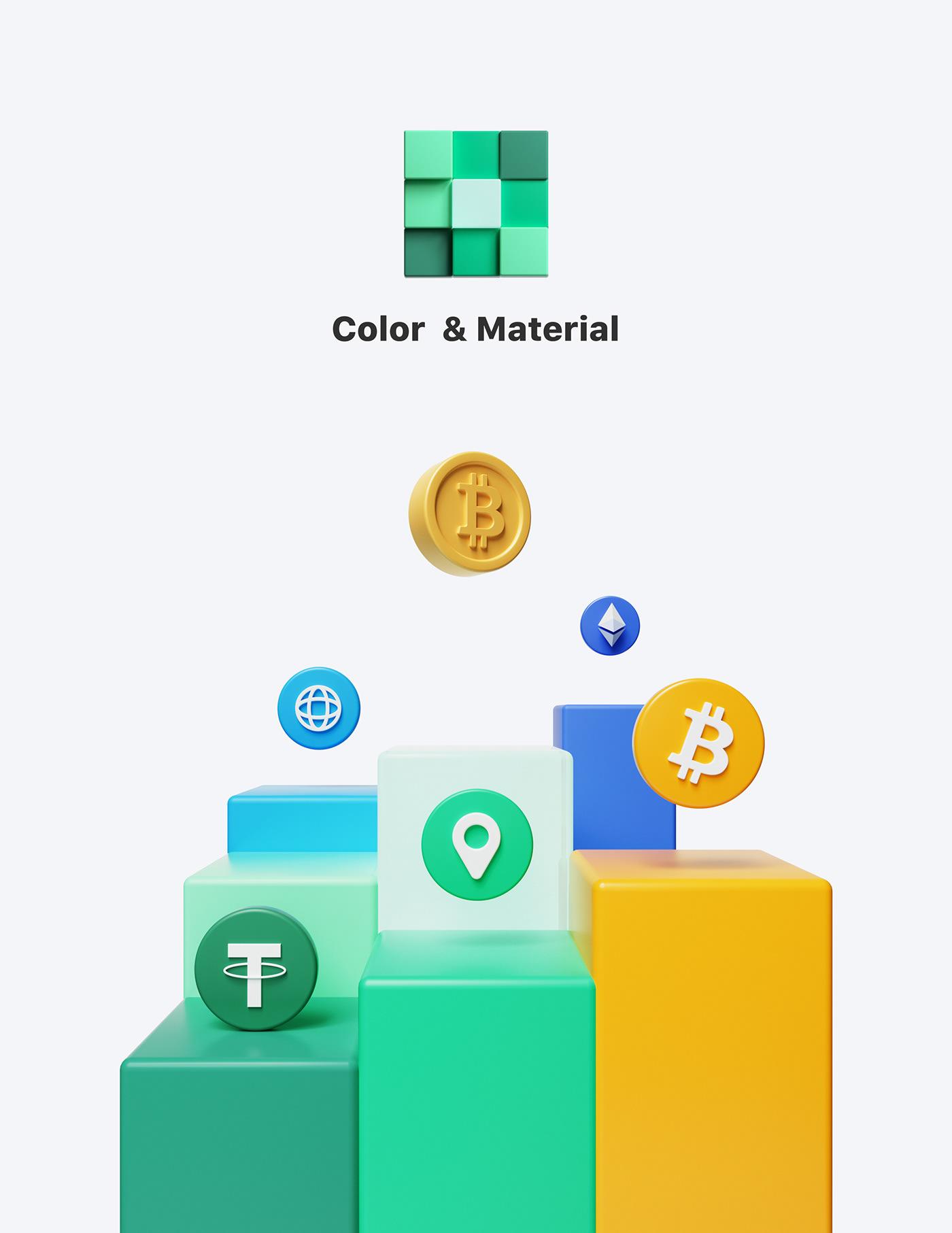 3D 3D illustration bitcoin Interface Mobile app octane uiux c4d Character design  cinema 4d