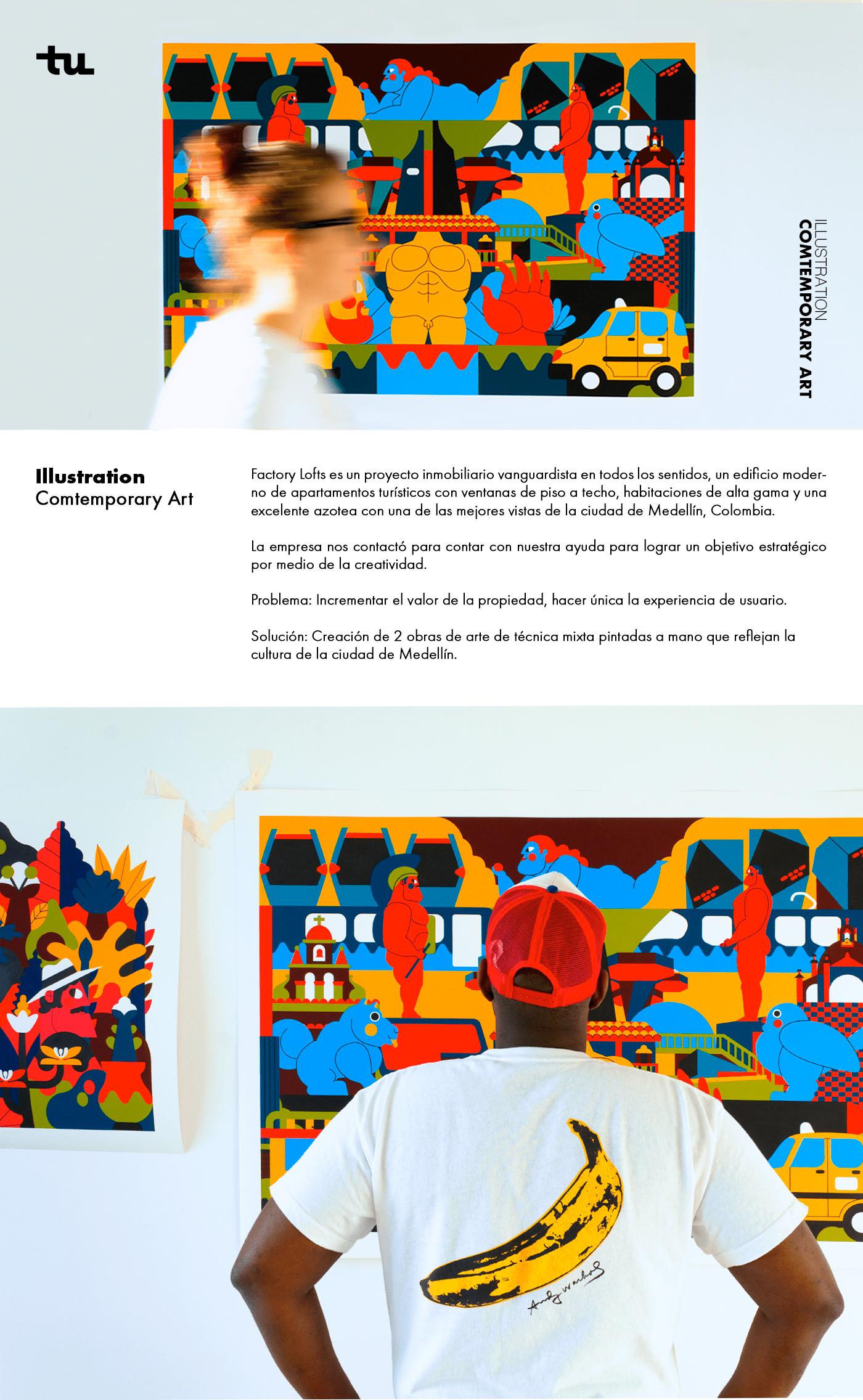 medellin ilustracion colombia arte pintura arte urbano LOFT print artwork Folklore