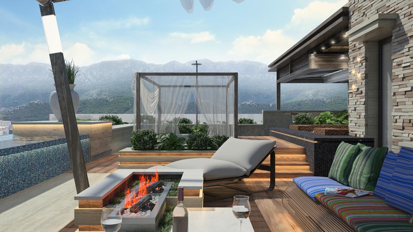sea terrace hot tub summer contemporary open shower terrace bar Luxury Apartment