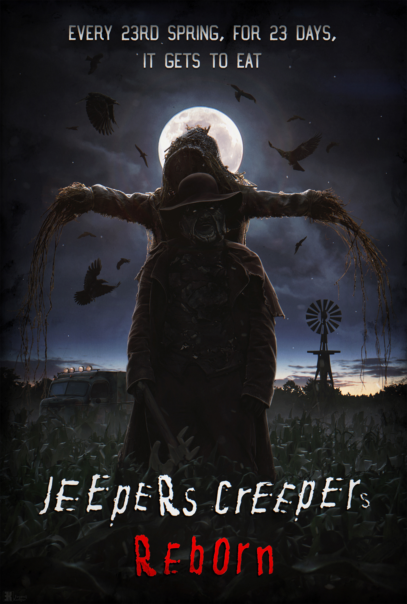 #conceptart #cornfield #hatchet #horror   #hunter   #jeeperscreepers #jeeperscreepersreborn #mattepainting #night  #survival