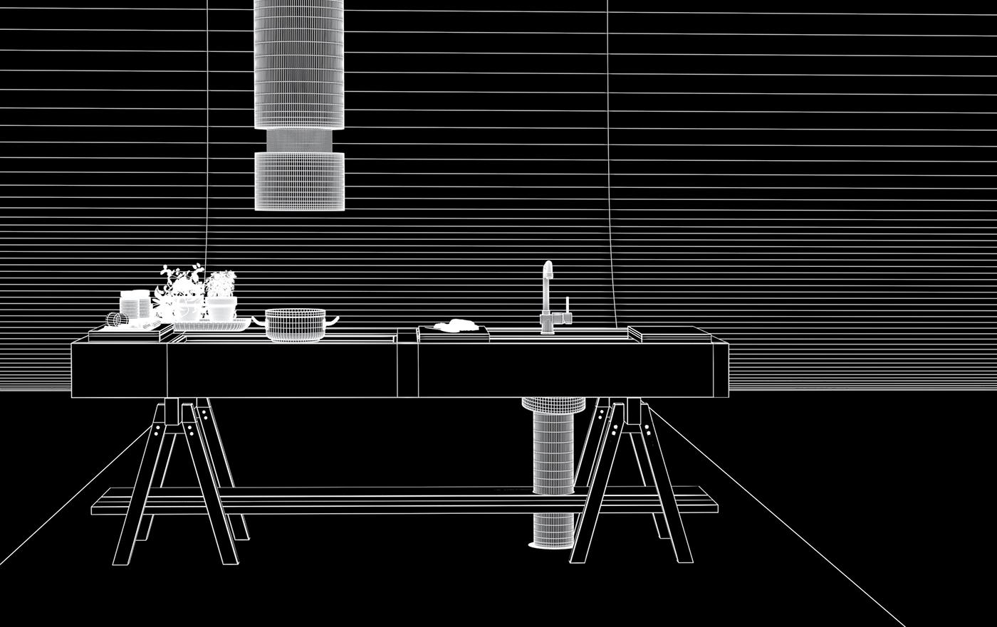 modular kitchen cgi on behance