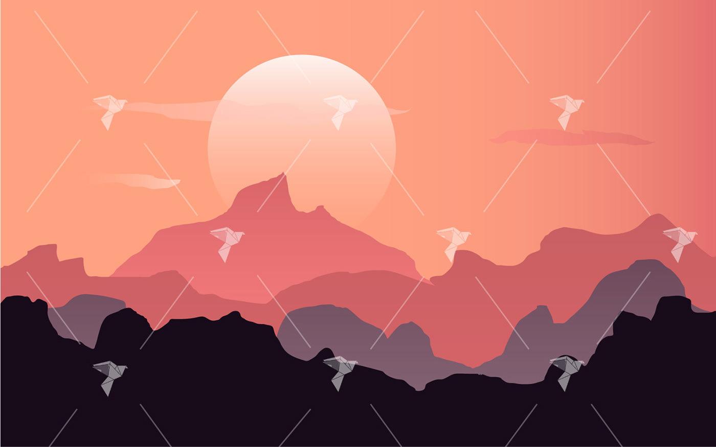illustator ILLUSTRATION  mountain scene Sun sunset view