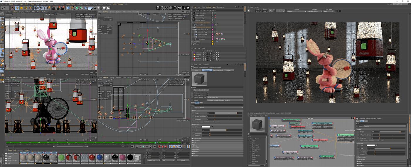 energizer lantern bunny arnold 3D animation  cinema 4d lighting CG rendering