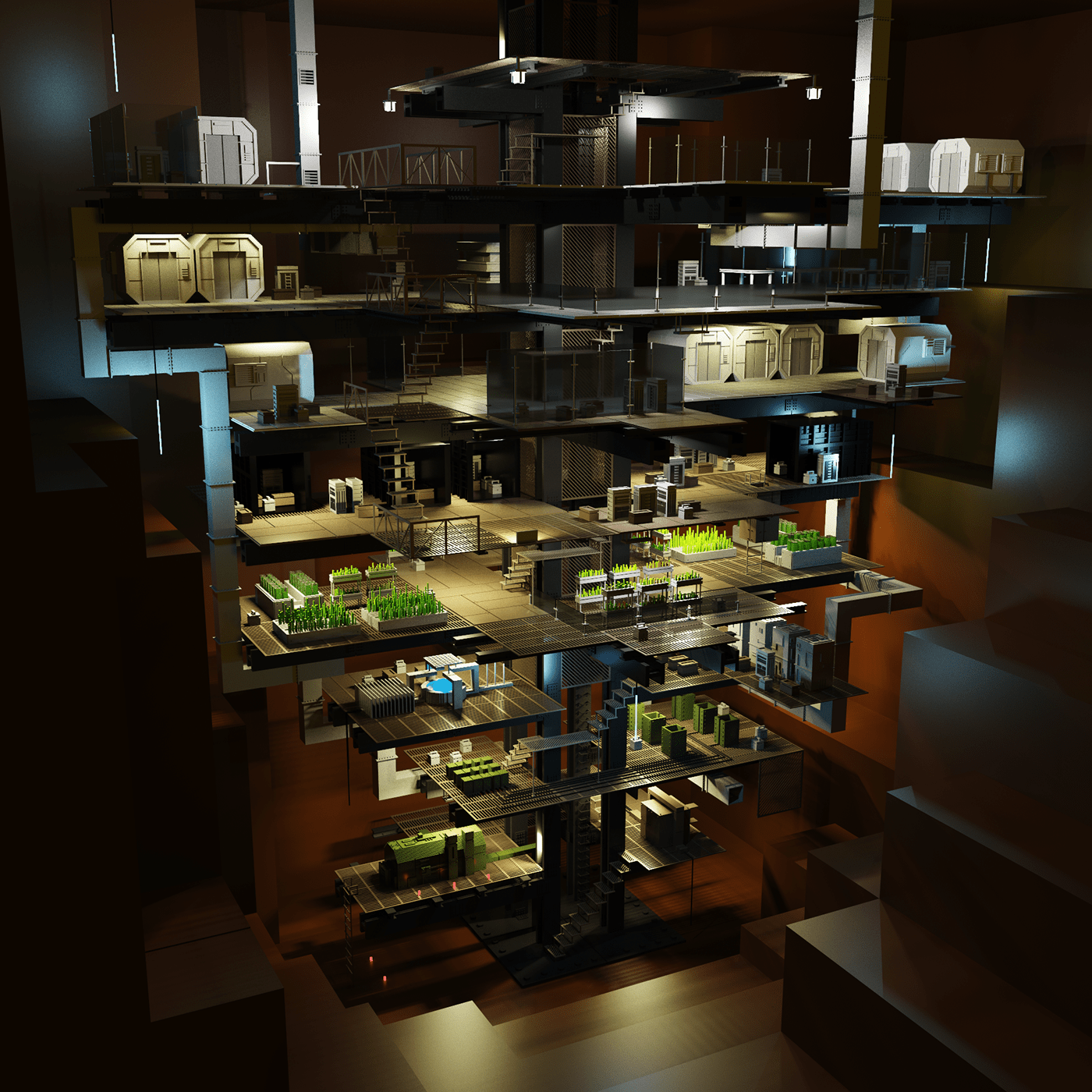 bunker sci-fi environment 3D voxelart voxel shelter lowpoly concept science fiction