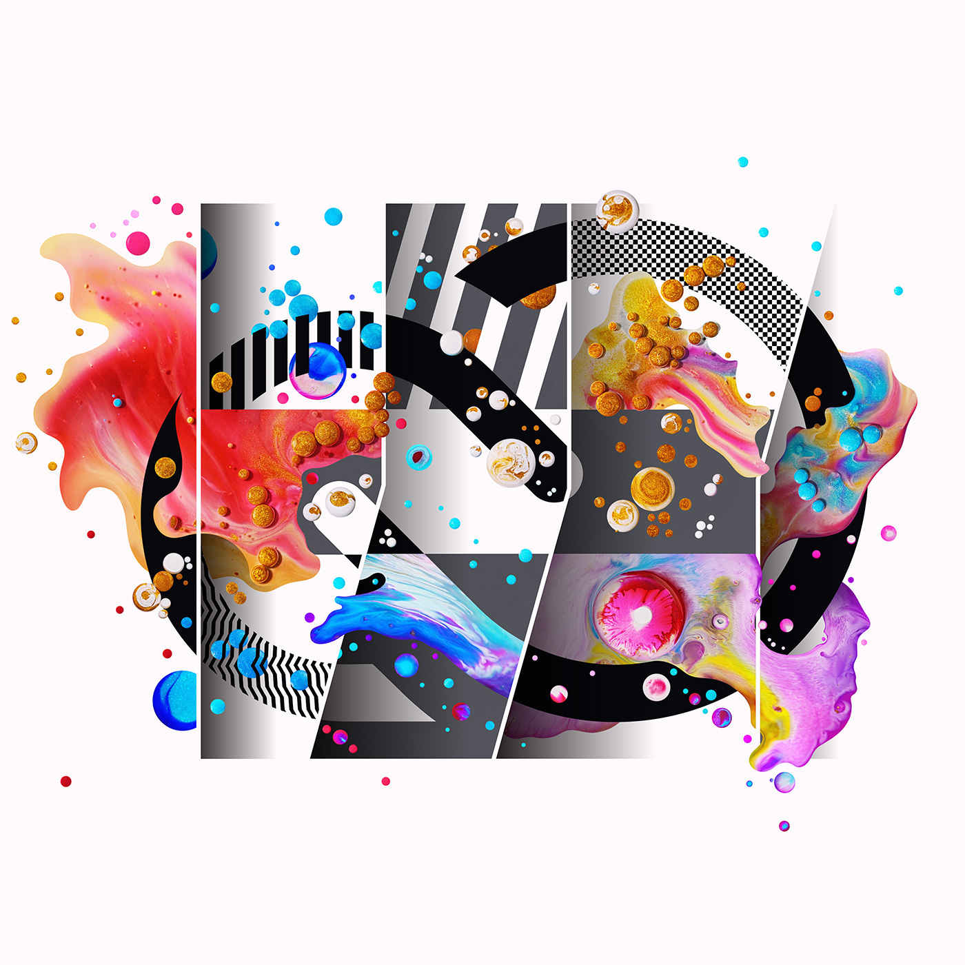 Artwork composed of graphic shapes, photography, digital painting and patterns