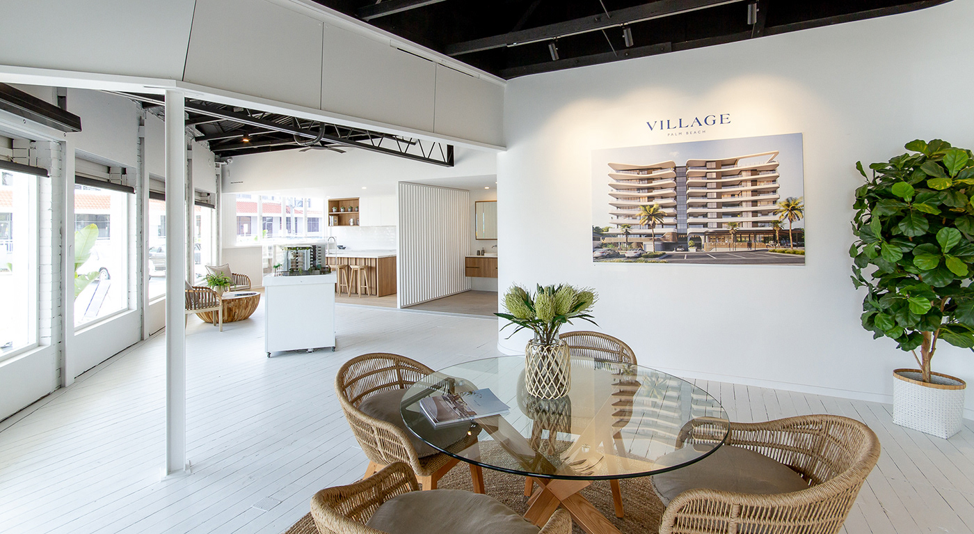 editorial Display suite Idenitity Palm Beach Place Branding property property development Sales Brochure sales office