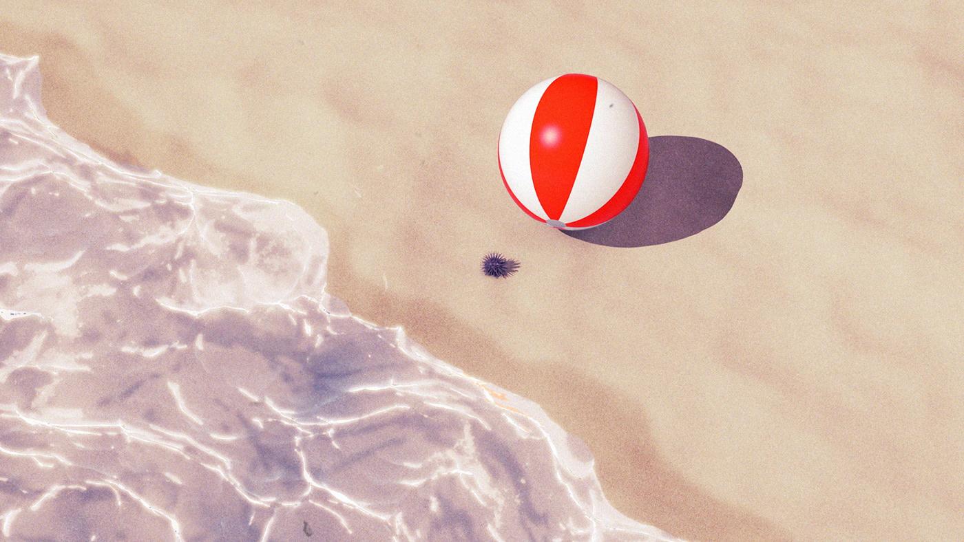 3d animation ball beach character animation mask motion motion design summer Umbrella