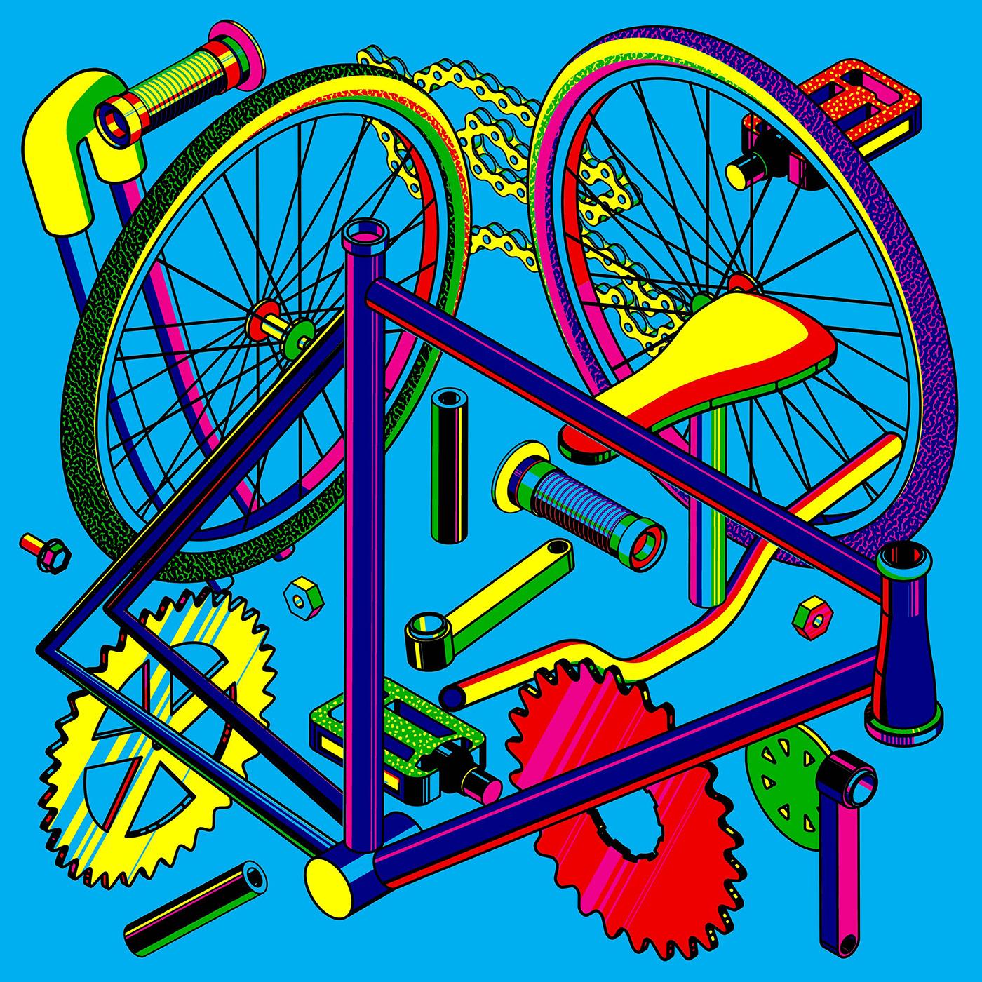 Bicycle Bike CMYK Drawing  Isometric Leica pepsi