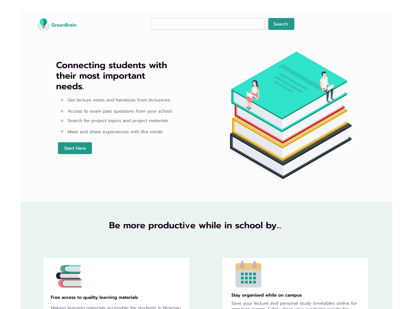 Education landing page Students user interface