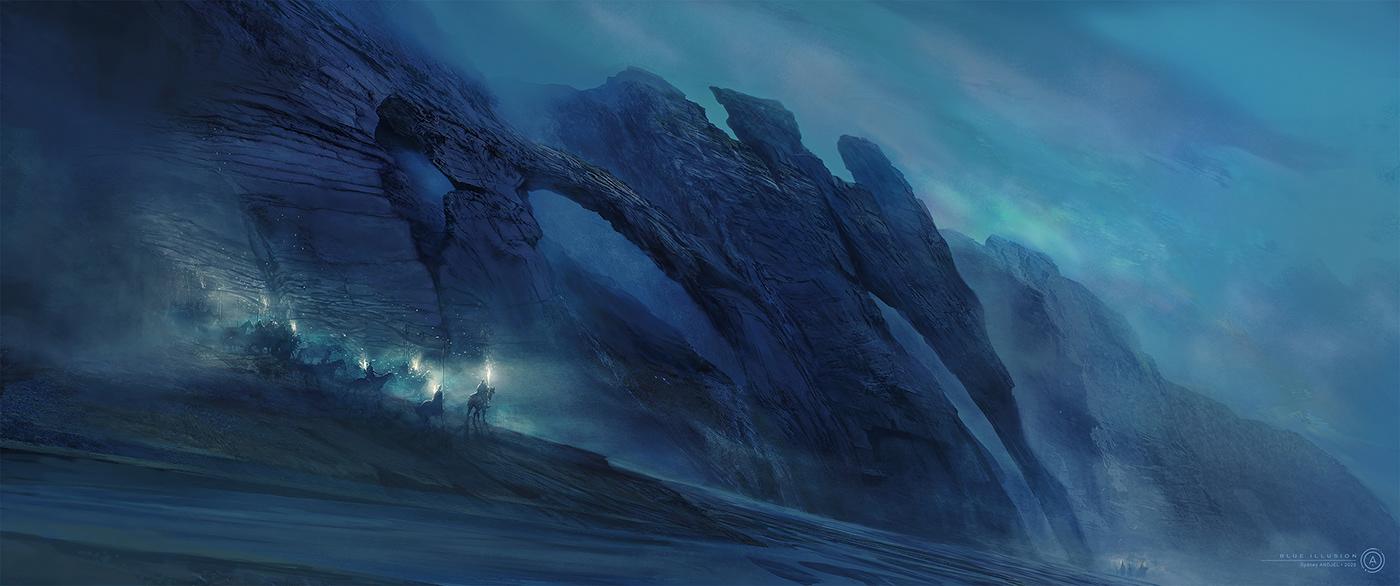 3D 3dsmax artworks aurora blue c4d illustrations Matte Painting Nature painting