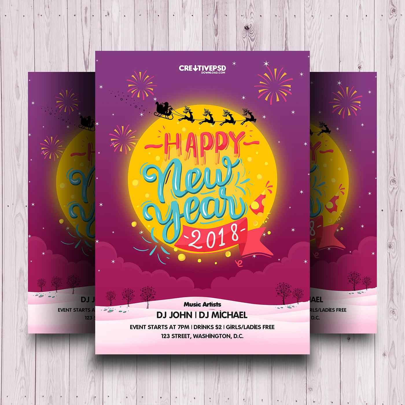 2018 happy new year invitation flyer psd on behance