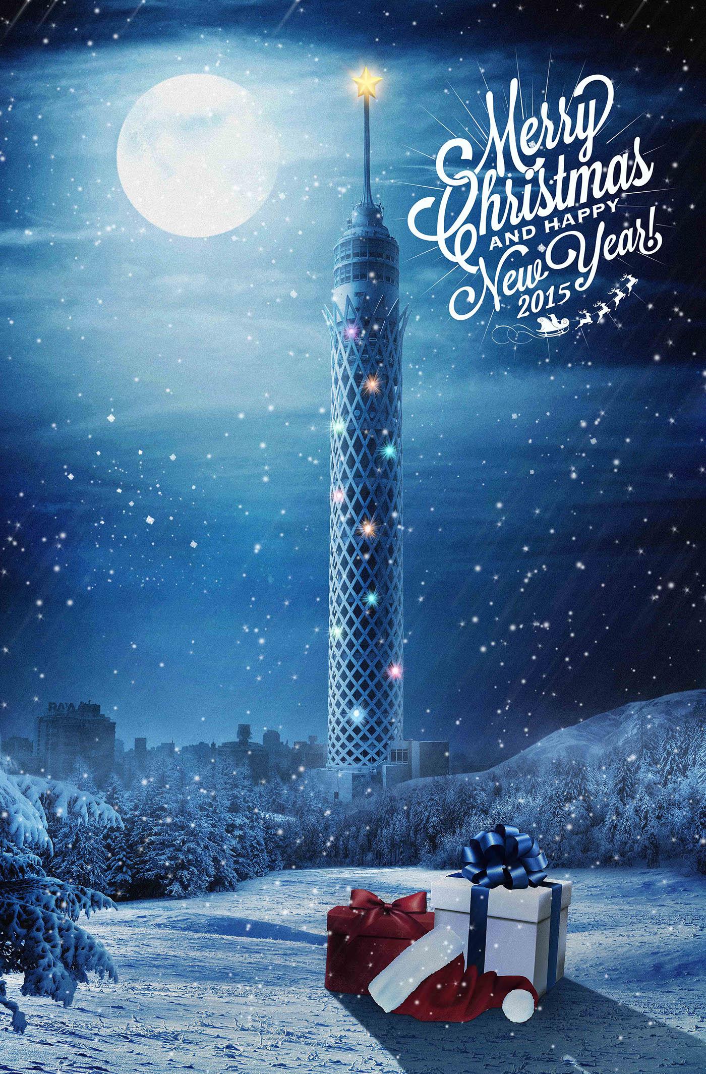 new year happy Christmas cairo night snow moon tower fantasy