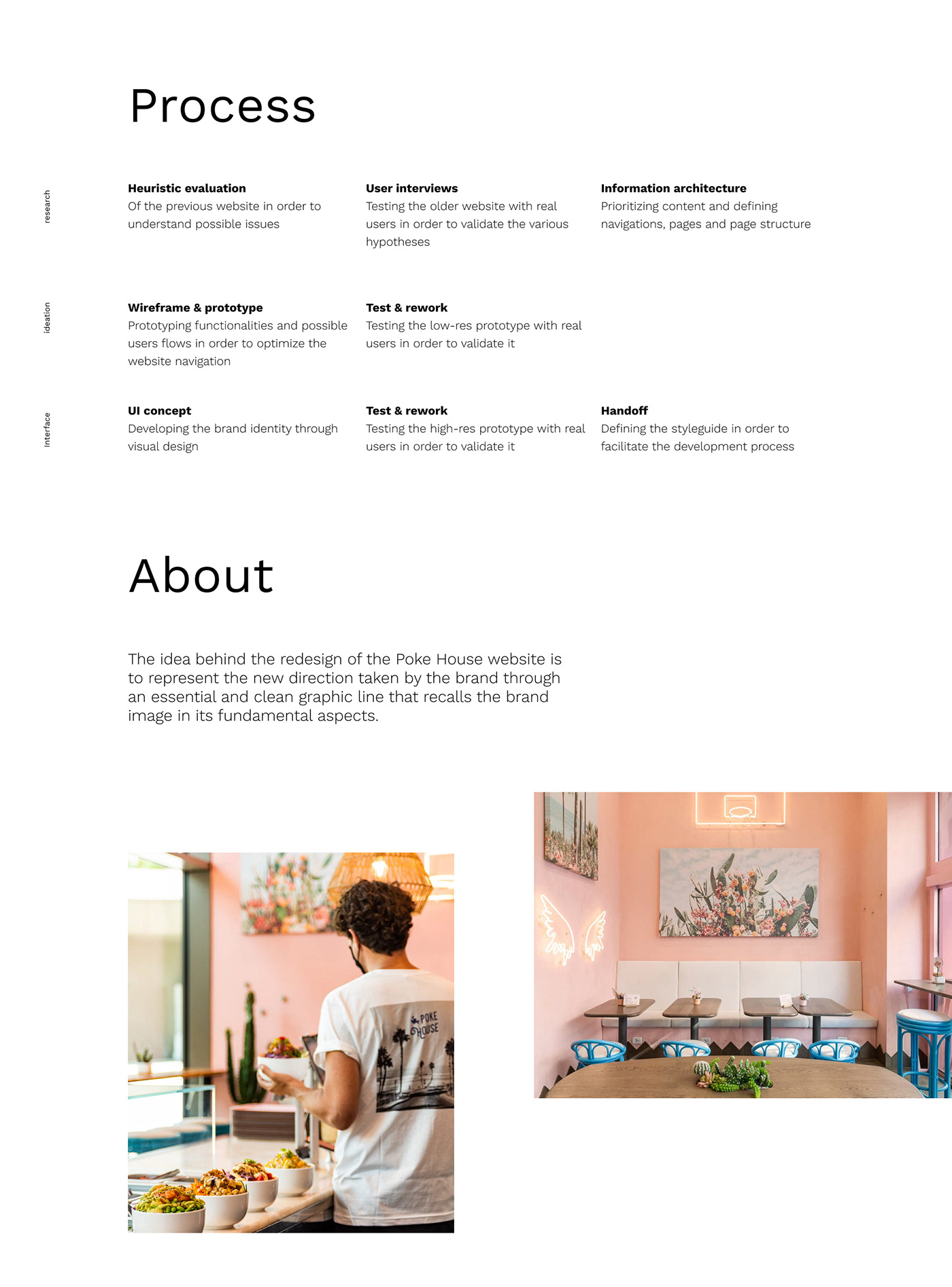 Graphics with text about the process of design for the website: research, ideation and interface
