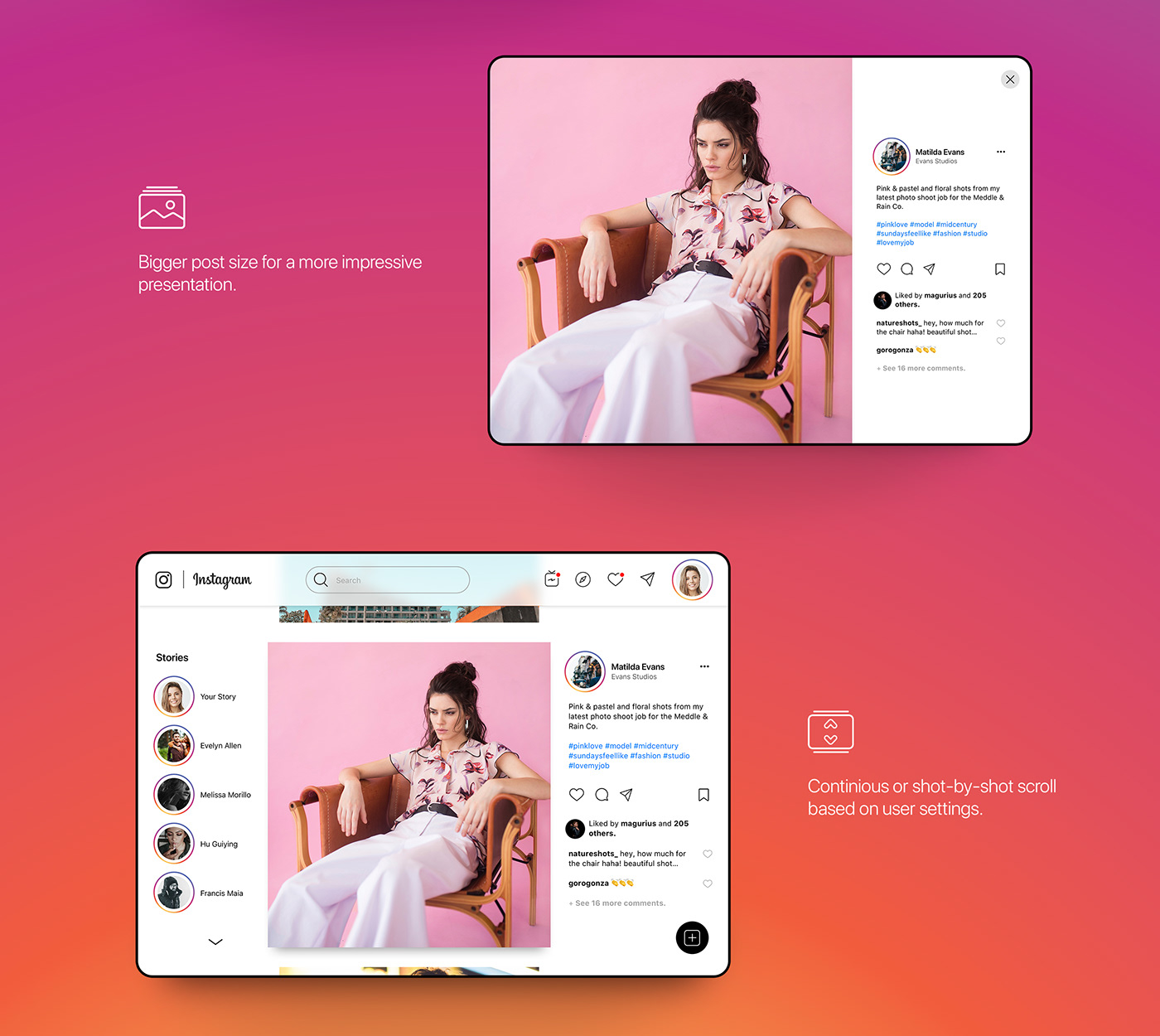 ux UI app concept instagram iPad user experience User Interaction interface design heat mapping