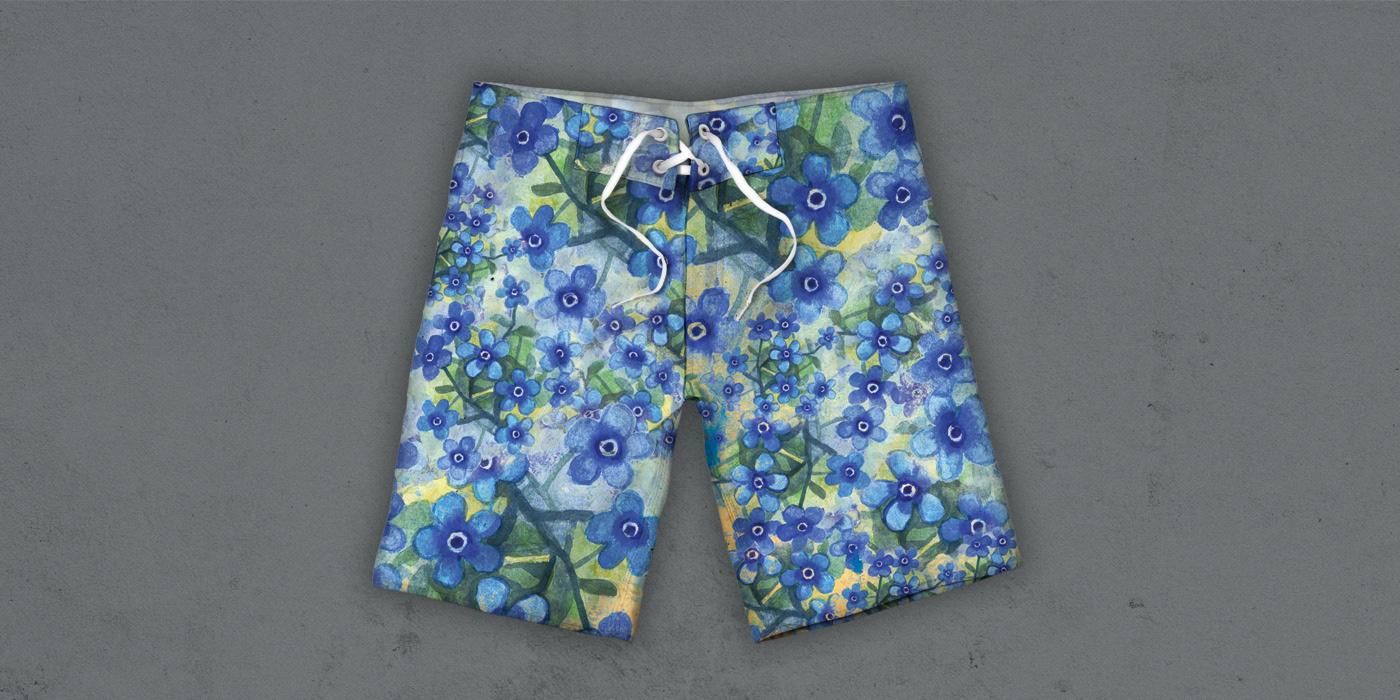 Estampa boardshort tecido design gráfico floral Bermuda textil pattern sublimação