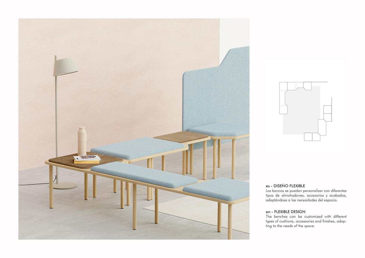 blender contract diseño de producto inclass mediterraneo modular sistem product design  producto Render mobiliario