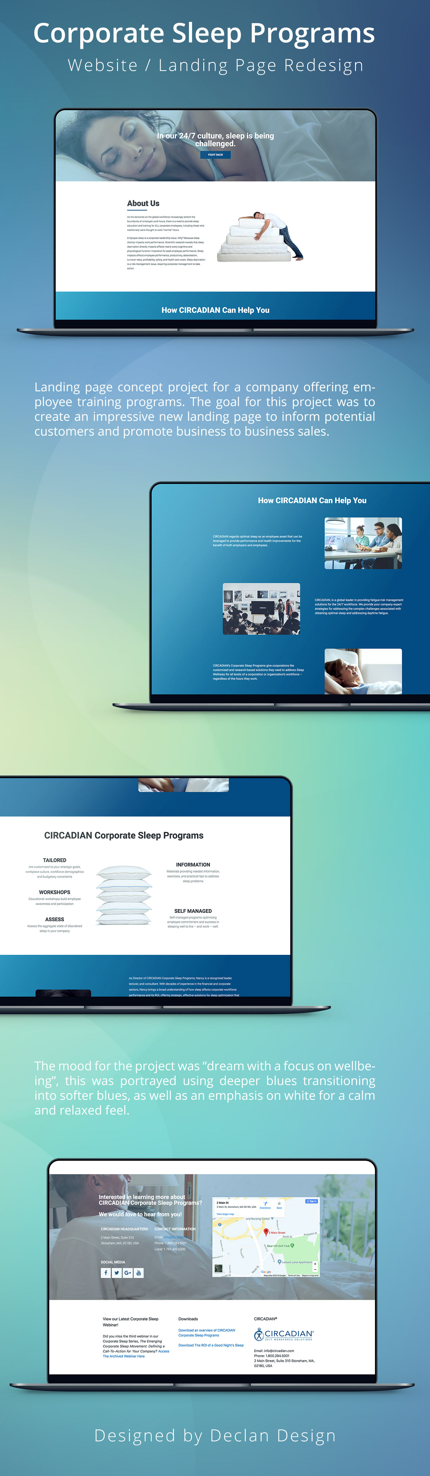 Website design landing page corporate sleep graphic