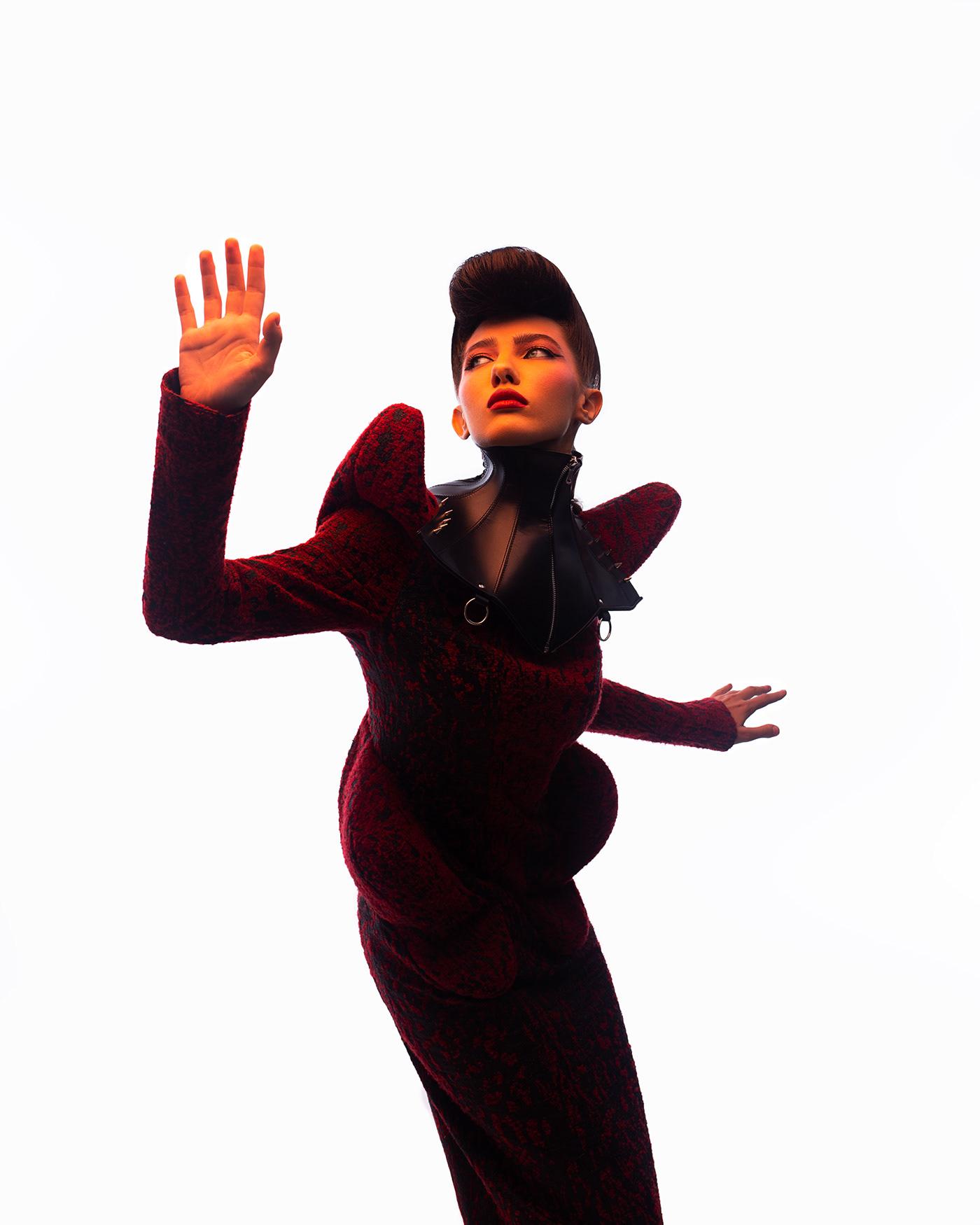 cover editorial fashion photography future futuristic magazine portrait red Studio Photography