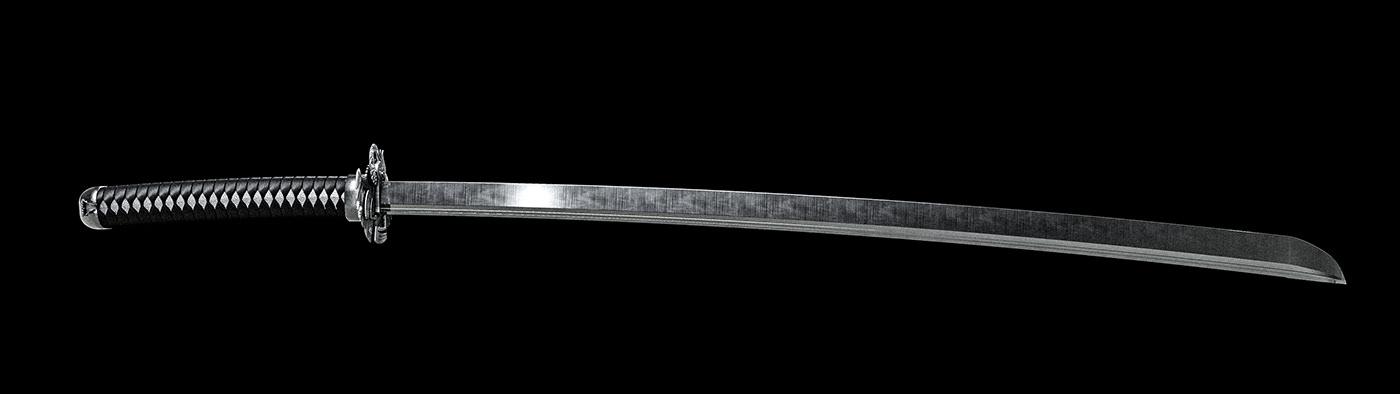 3D animation  heron japan motion noir ronin samurai tsuba