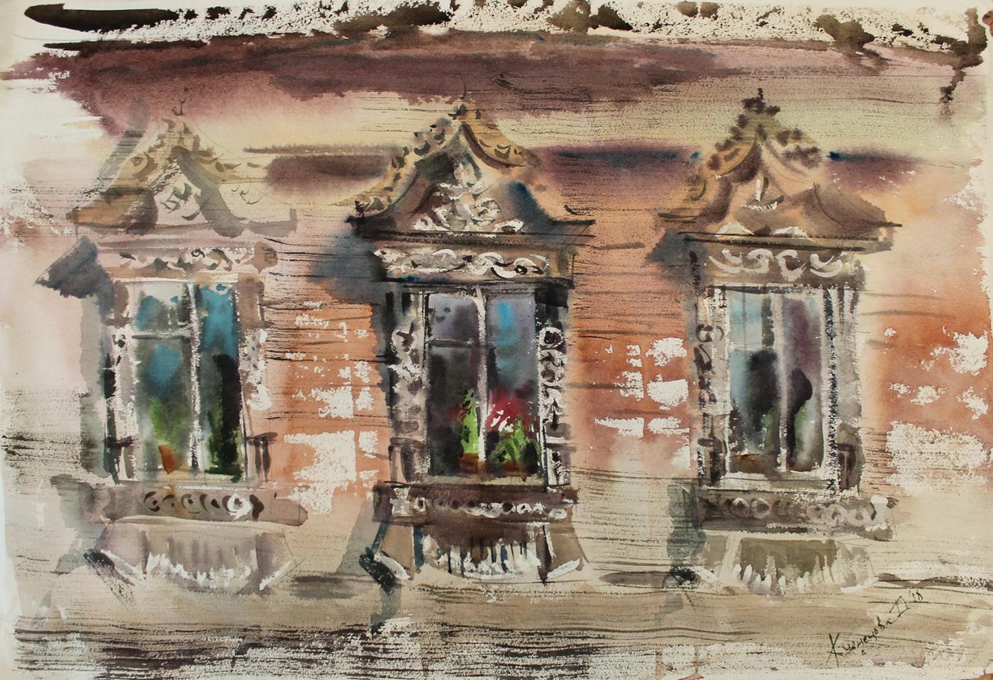 art graphic art Landscape watercolor windows акварель окна провинция