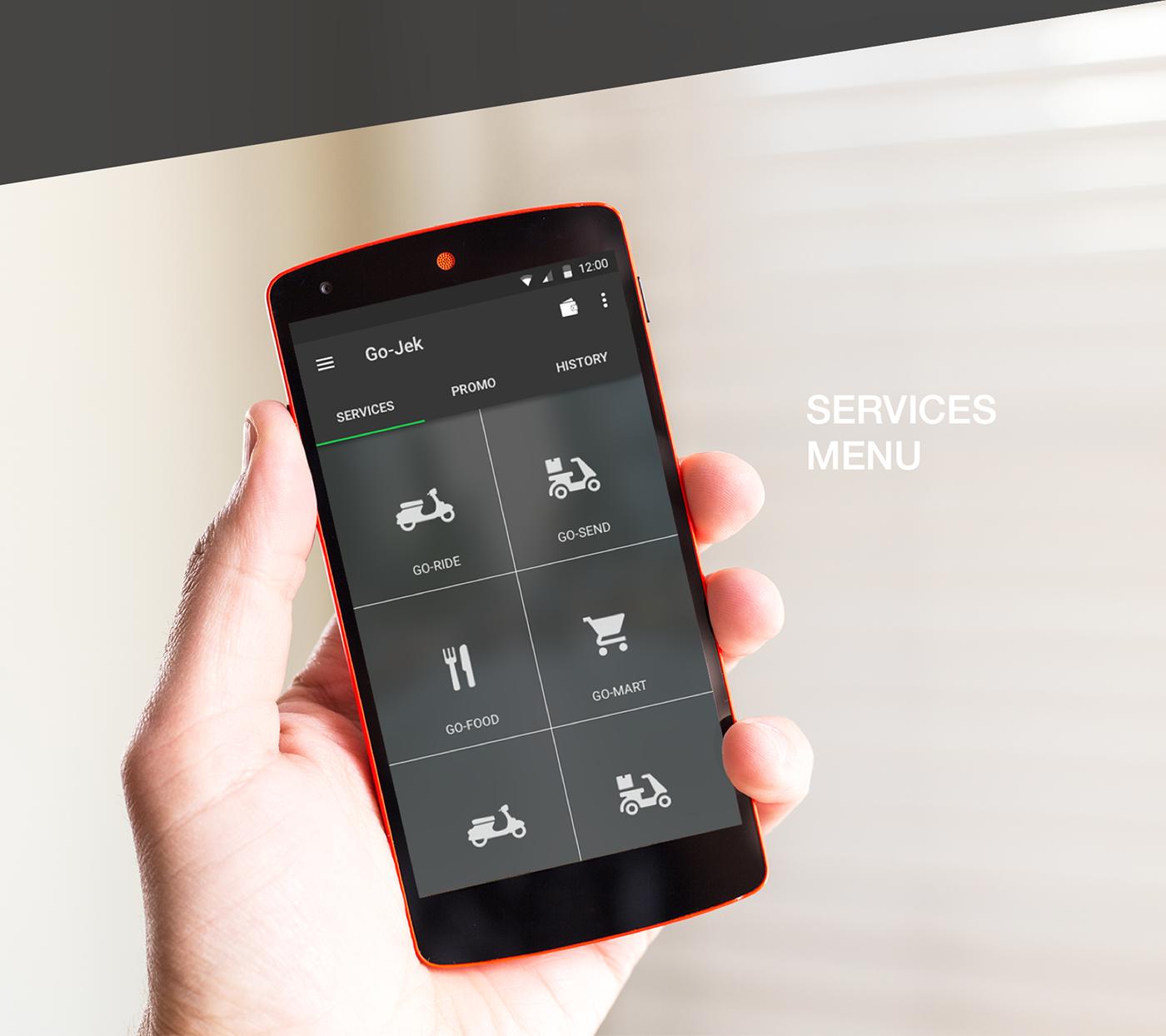 Go Jek Services: Re-Design Concept Go-Jek App (Go-Ride Service) On Behance