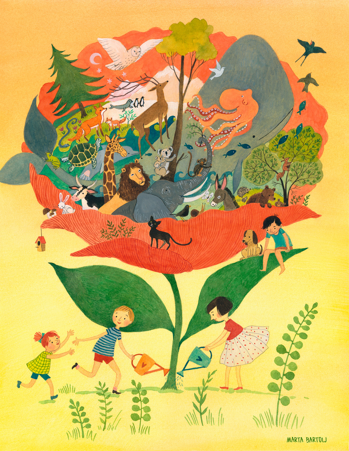 animals art forest globe graphic ILLUSTRATION  International wild animals