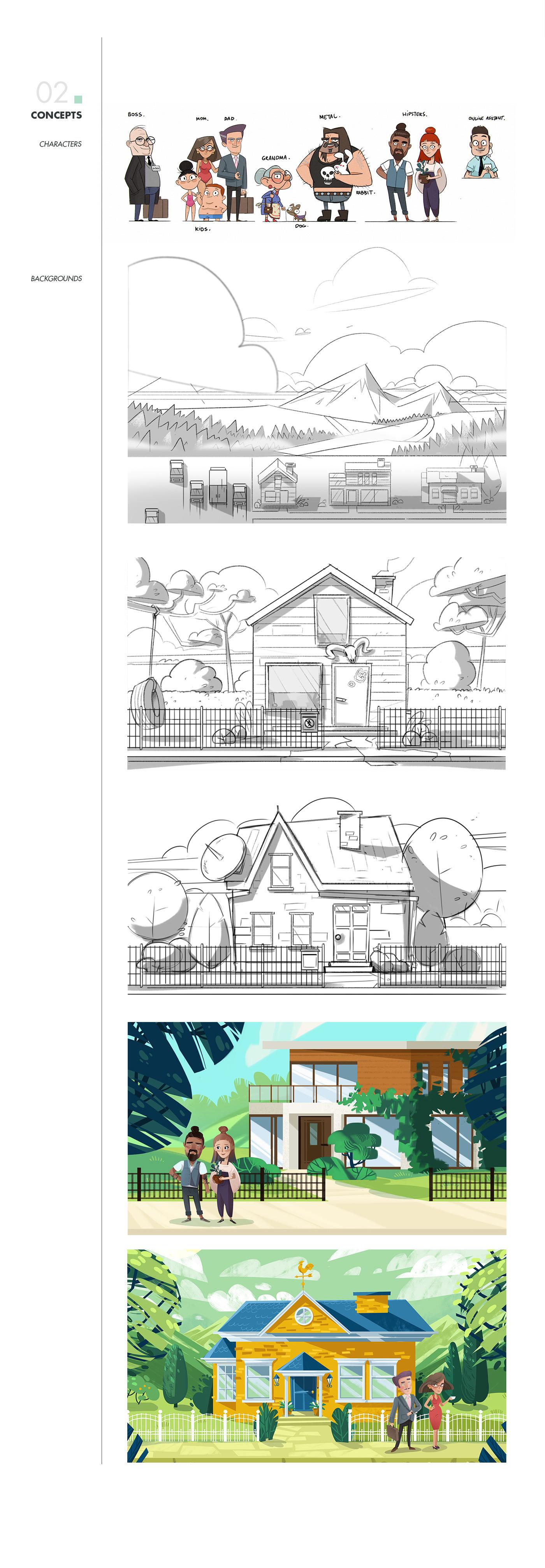 Zaun studio pigeon animation  2D flat design Character
