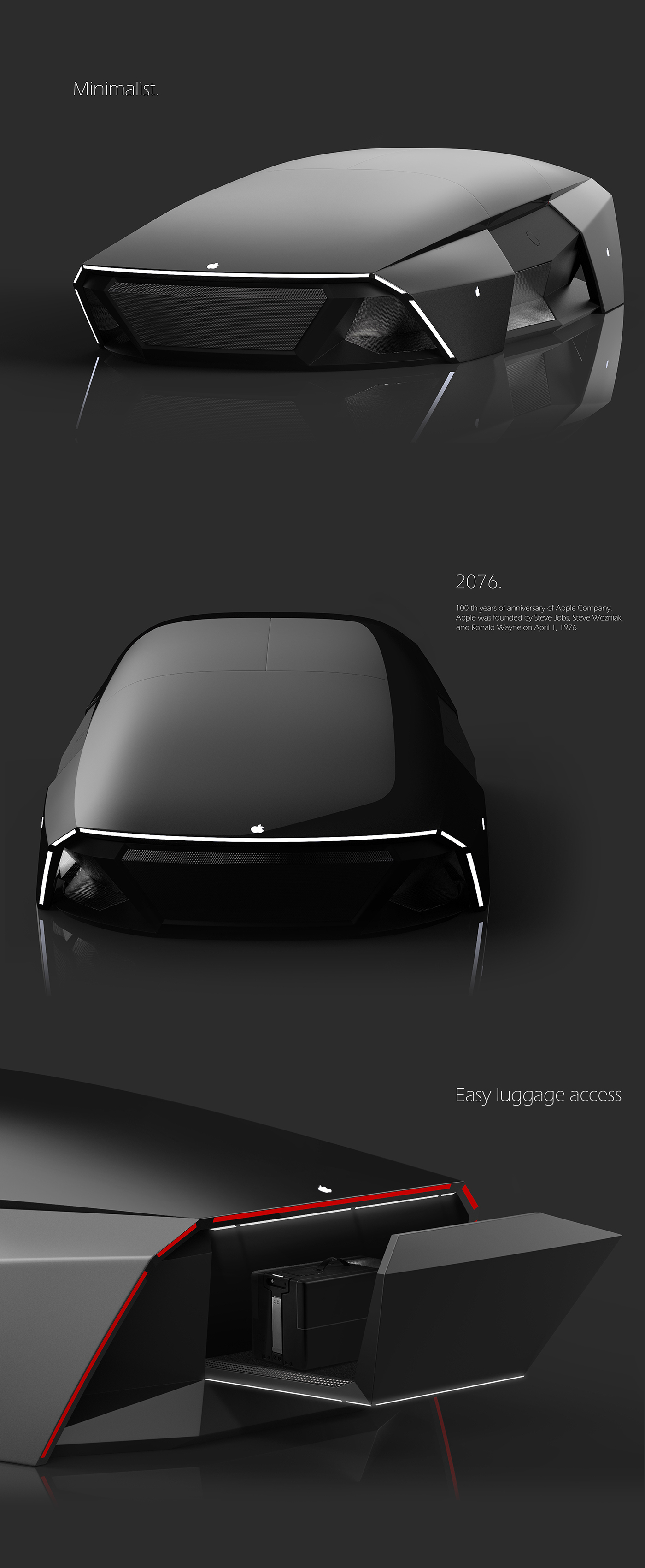 Turkish designer ali cam came up with this for the apple icar framing it as a future concept with a launch date in 2076 100 years after apple s founding