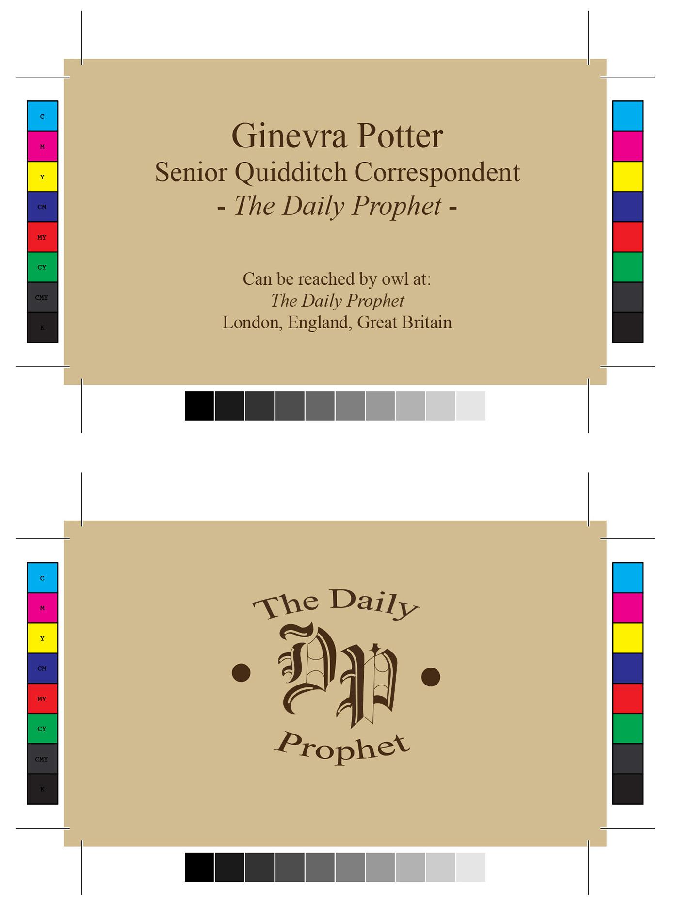 Harry Potter Business Card Designs On Behance