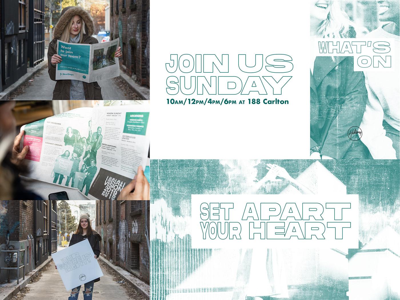 art direction  branding  campaign church Creative Direction  design hillsong newspaper Toronto typography