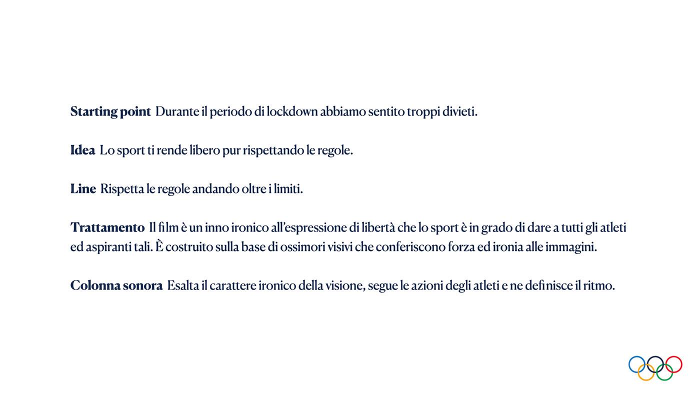 Advertising  coni Coronavirus COVID-19 italia team OLIMPIADI Ripartenza sport