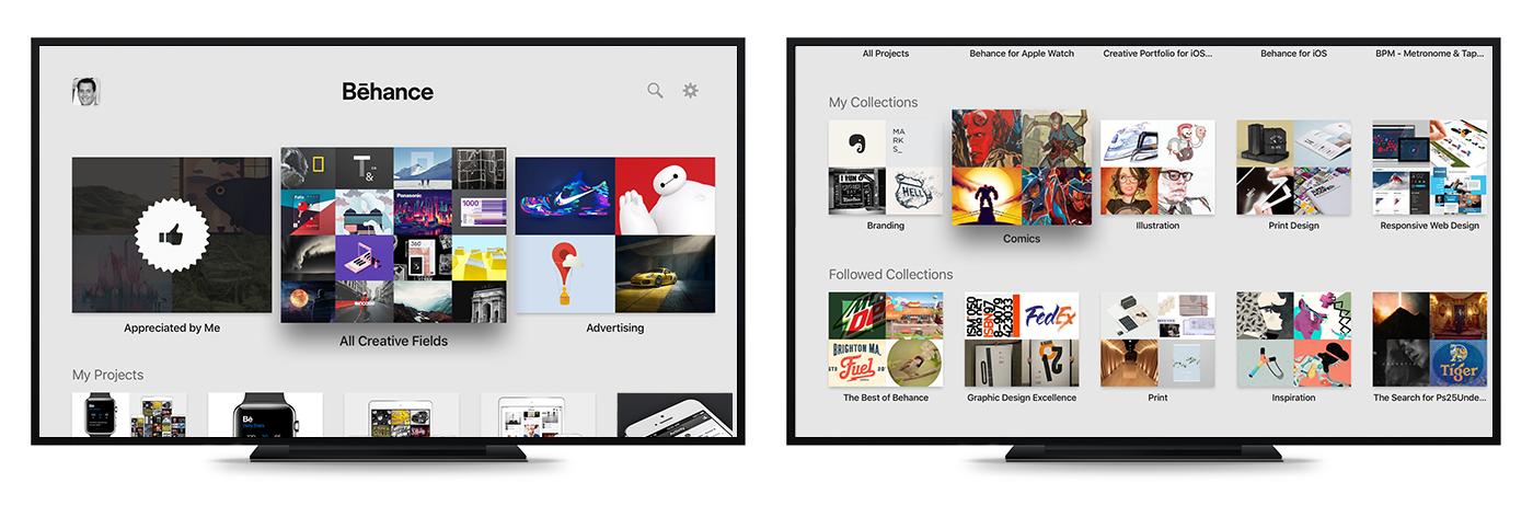 Adobe Portfolio apple ios Apple tv tv Behance app
