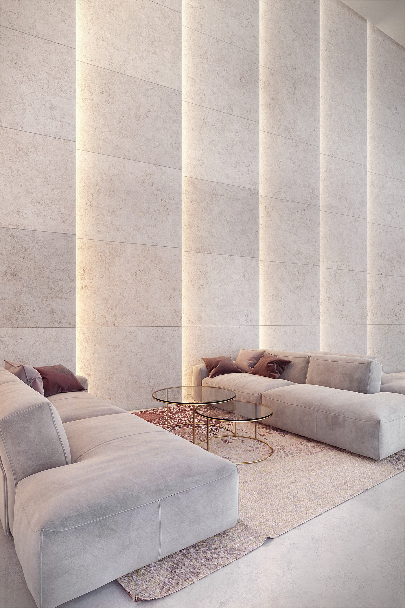Light in architecture travertine wall on behance for Hotel wall design